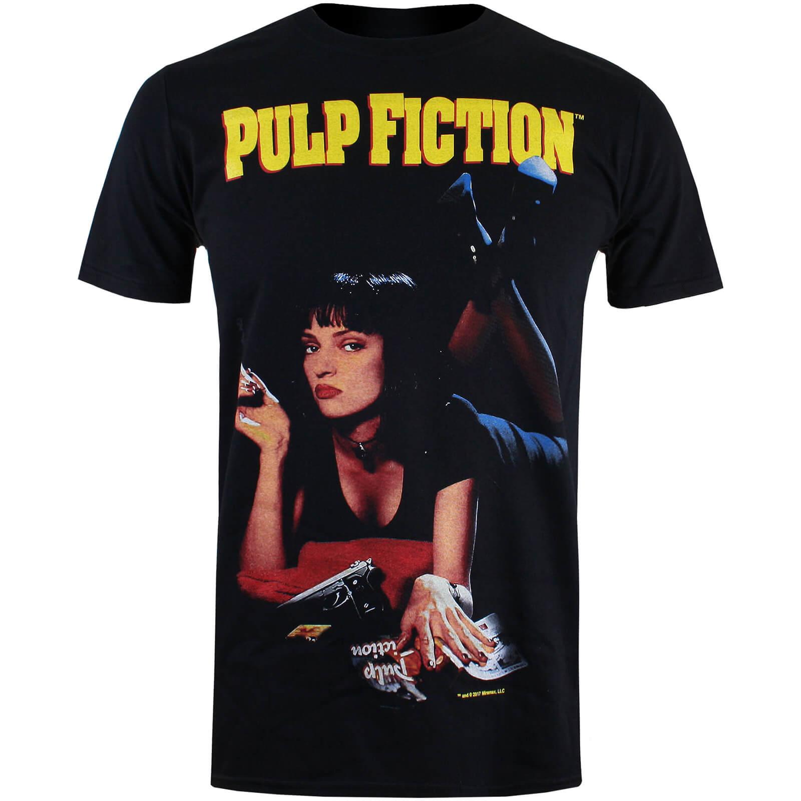 Pulp Fiction Uma Poster Männer T Shirt Schwarz Merchandise Zavvide
