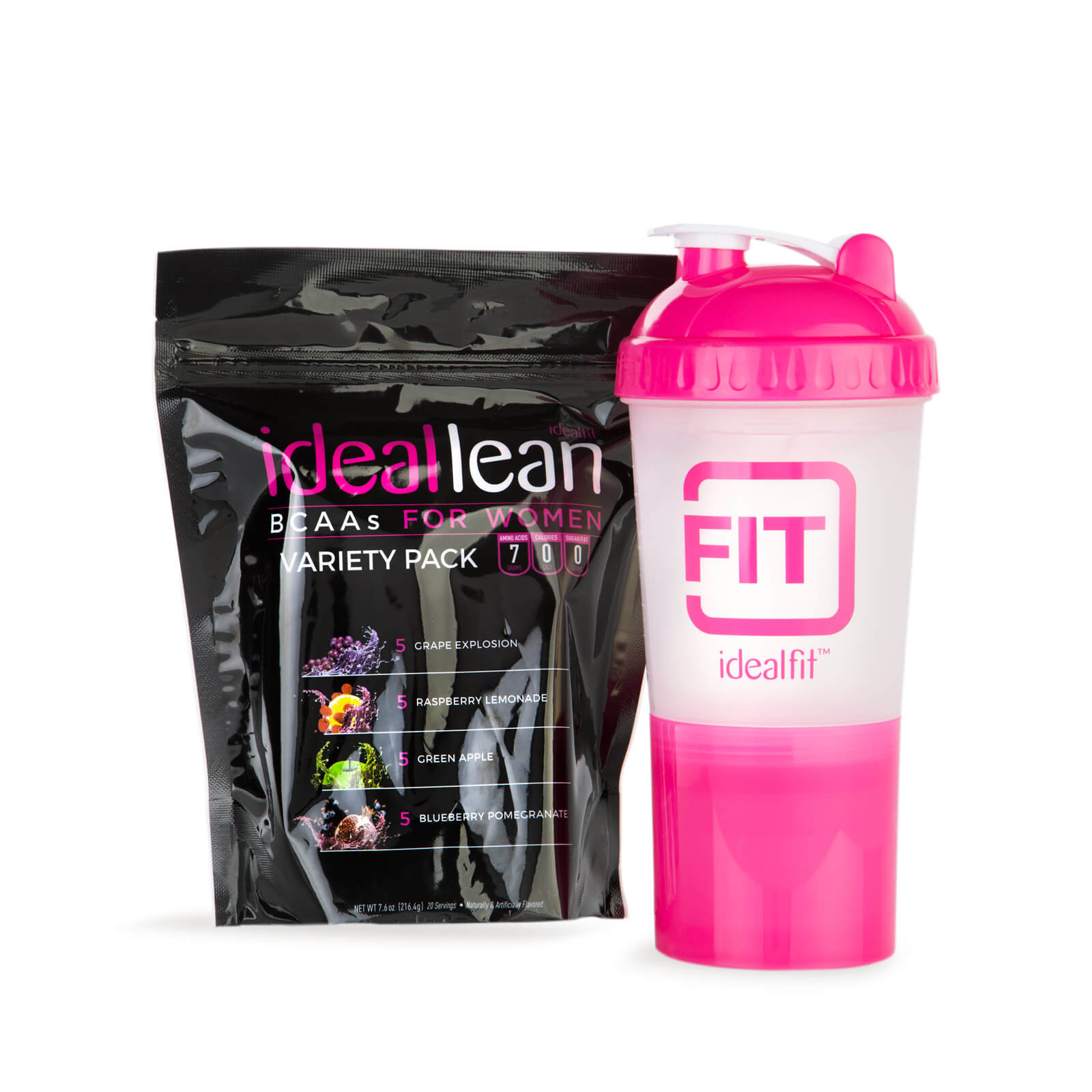IdealLean BCAAs Variety Pack (20 Count) + Shaker Bundle