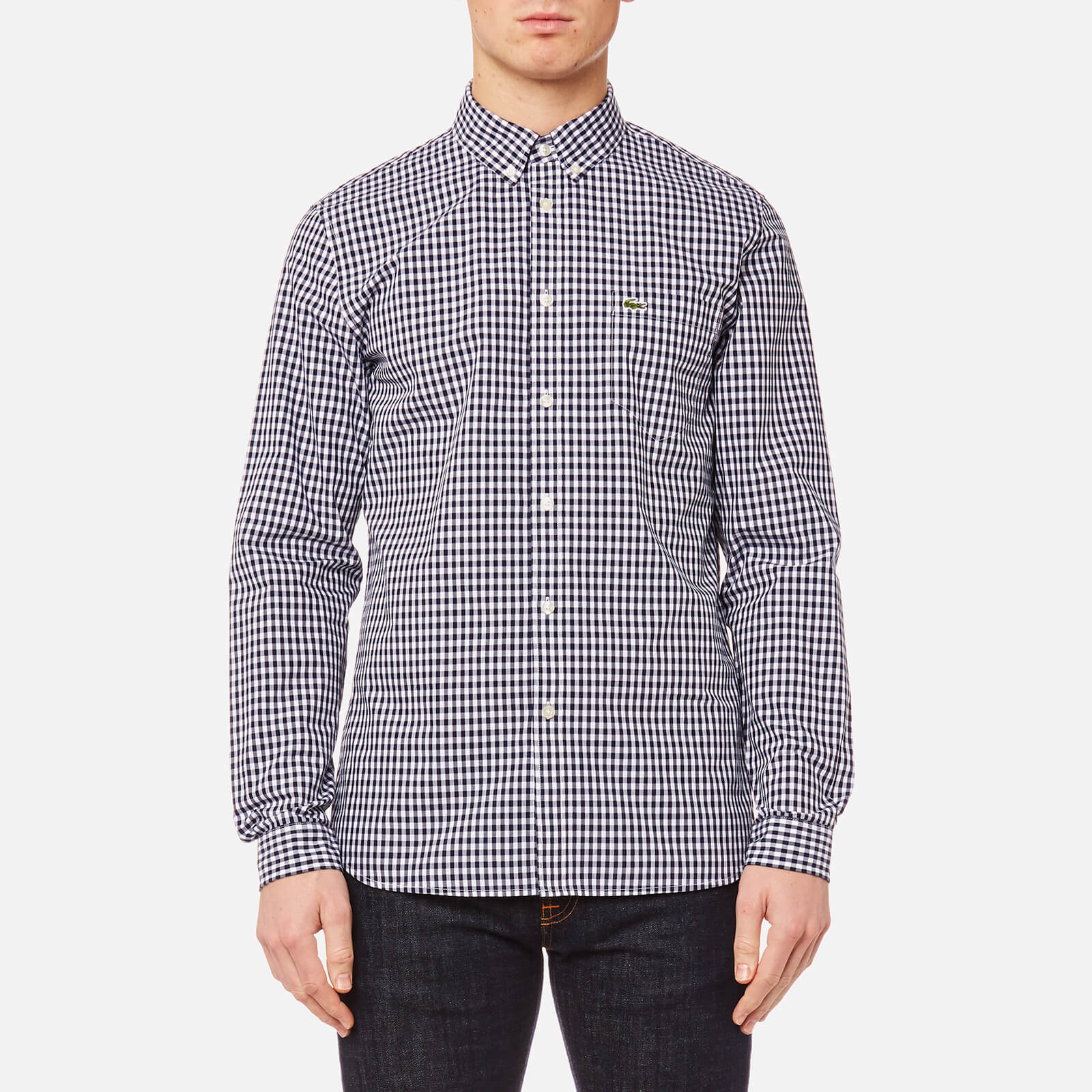 fb0e8c59551d7 Lacoste Men s Gingham Long Sleeve Shirt - Navy Blue White - Free UK  Delivery over £50