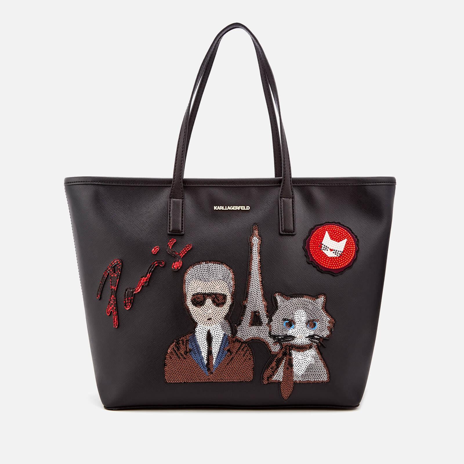 Bag Karl Free Women's Lagerfeld Uk Kparis Shopper Black oBxeQrdCW