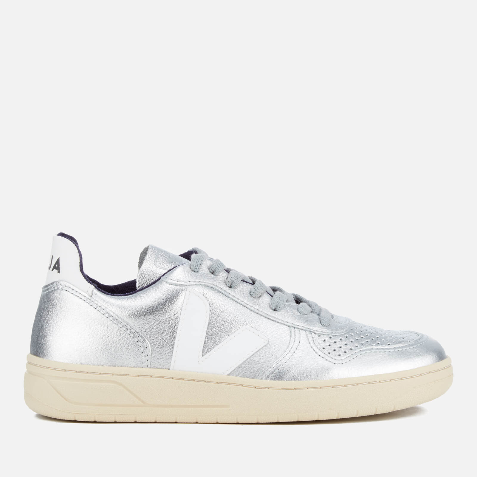 0df4ba2a2833e0 Veja Women s V-10 Leather Trainers - Silver - Free UK Delivery over £50