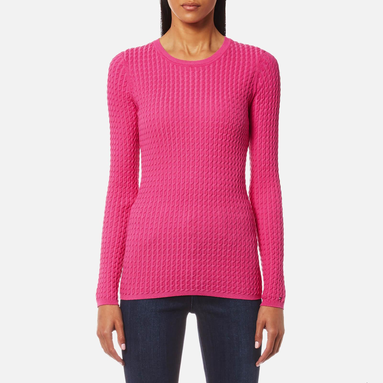 250deb48d45 Tommy Hilfiger Women's Gena Cable Crew Neck Jumper - Magenta Womens  Clothing | TheHut.com