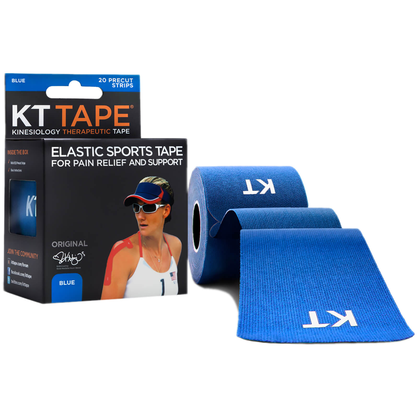 "KT Tape Original Precut Cotton 10"""" - Blue"