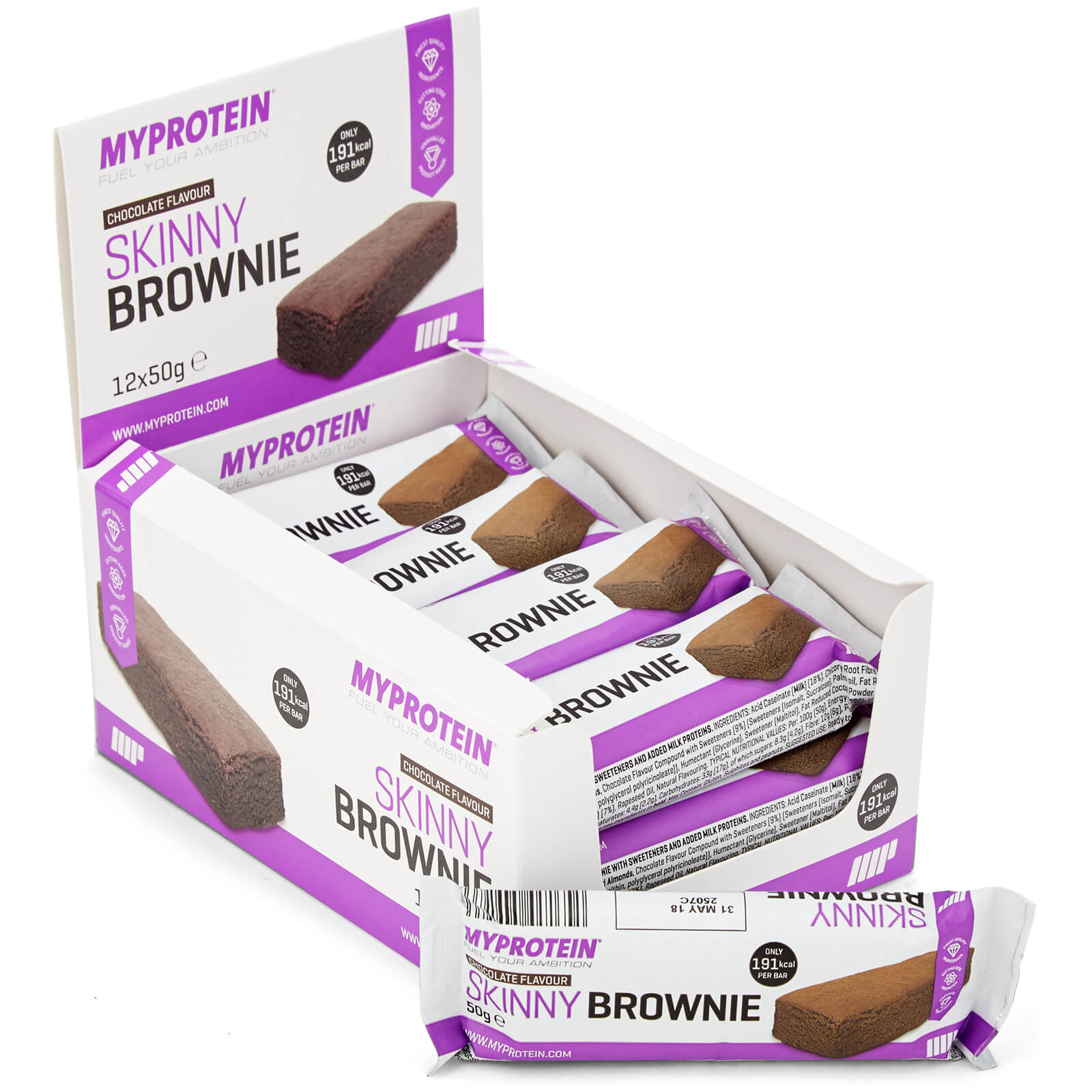 Skinny Brownie, Chocolate, 12 x 50g