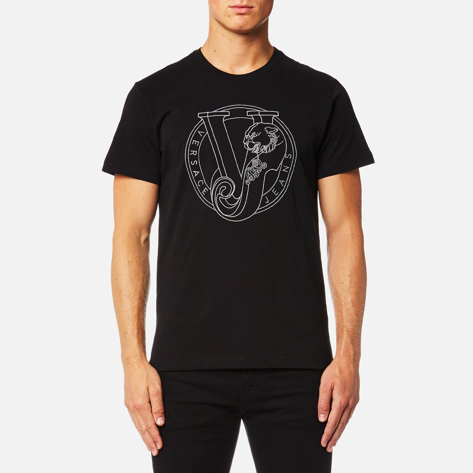 1338089ba Versace Jeans Men's Large Chest Logo T-Shirt - Nero Clothing | TheHut.com