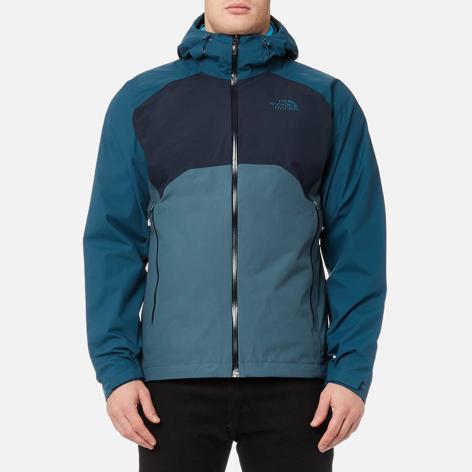 b03175397 The North Face Men's Stratos Jacket - Conquer Blue/Urban Navy/Monterey Blue