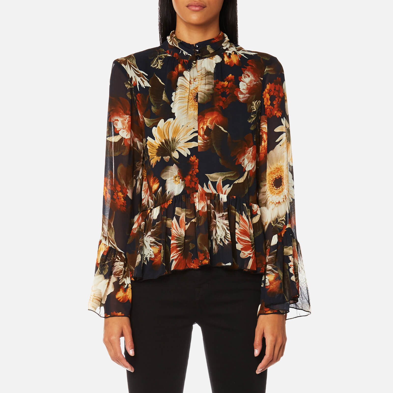 e7a0c125cb82 Gestuz Women's Fergie Flower Print High Neck Blouse - Multi - Free UK  Delivery over £50