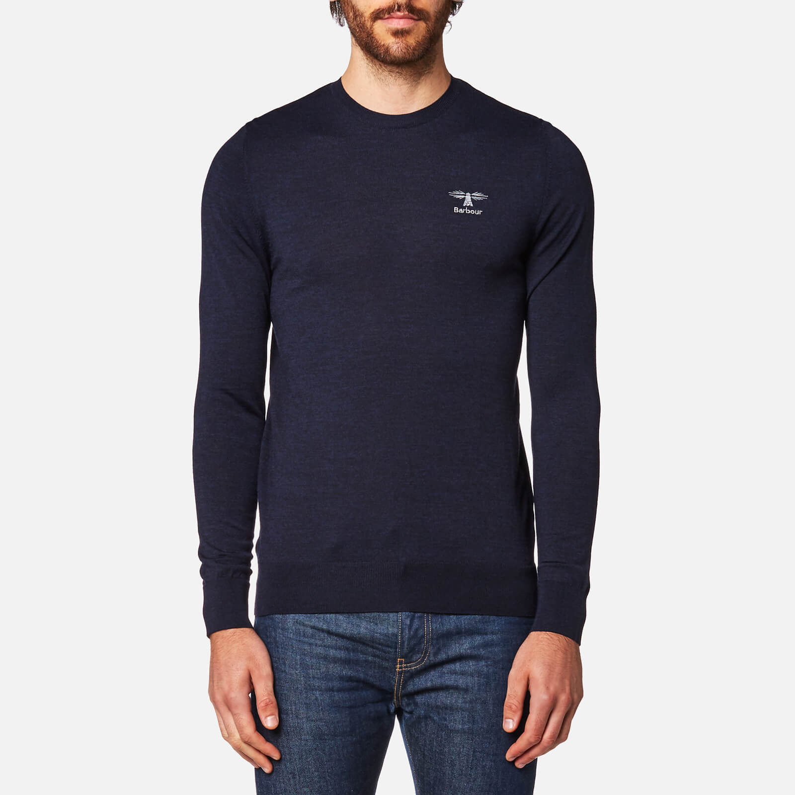baf49d1e2 Barbour Men s Harley Crew Neck Knitted Jumper - Navy - Free UK ...