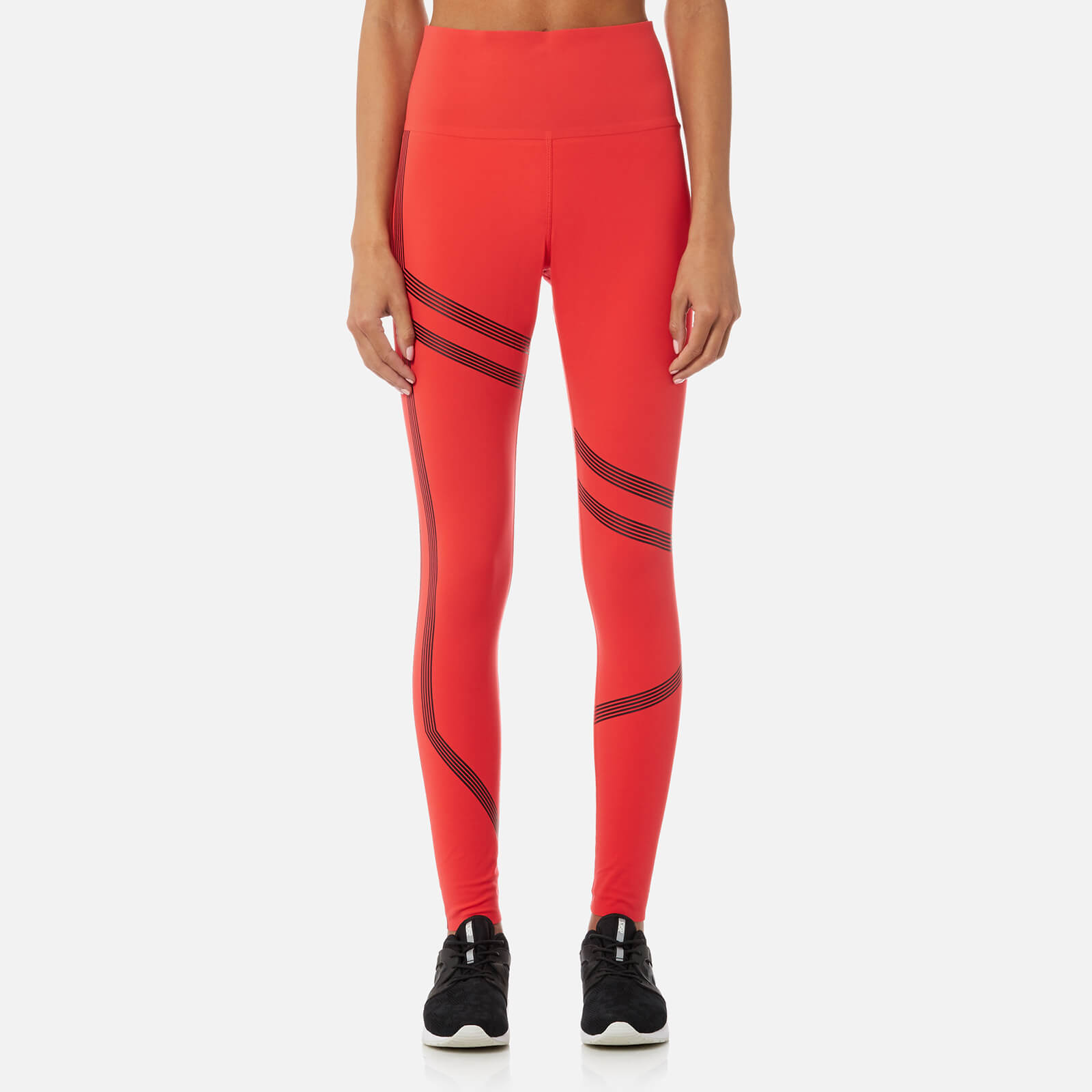 d0ba84854a68c5 Reebok Women's Linear High Rise Tights - Glow Red Womens Clothing |  TheHut.com