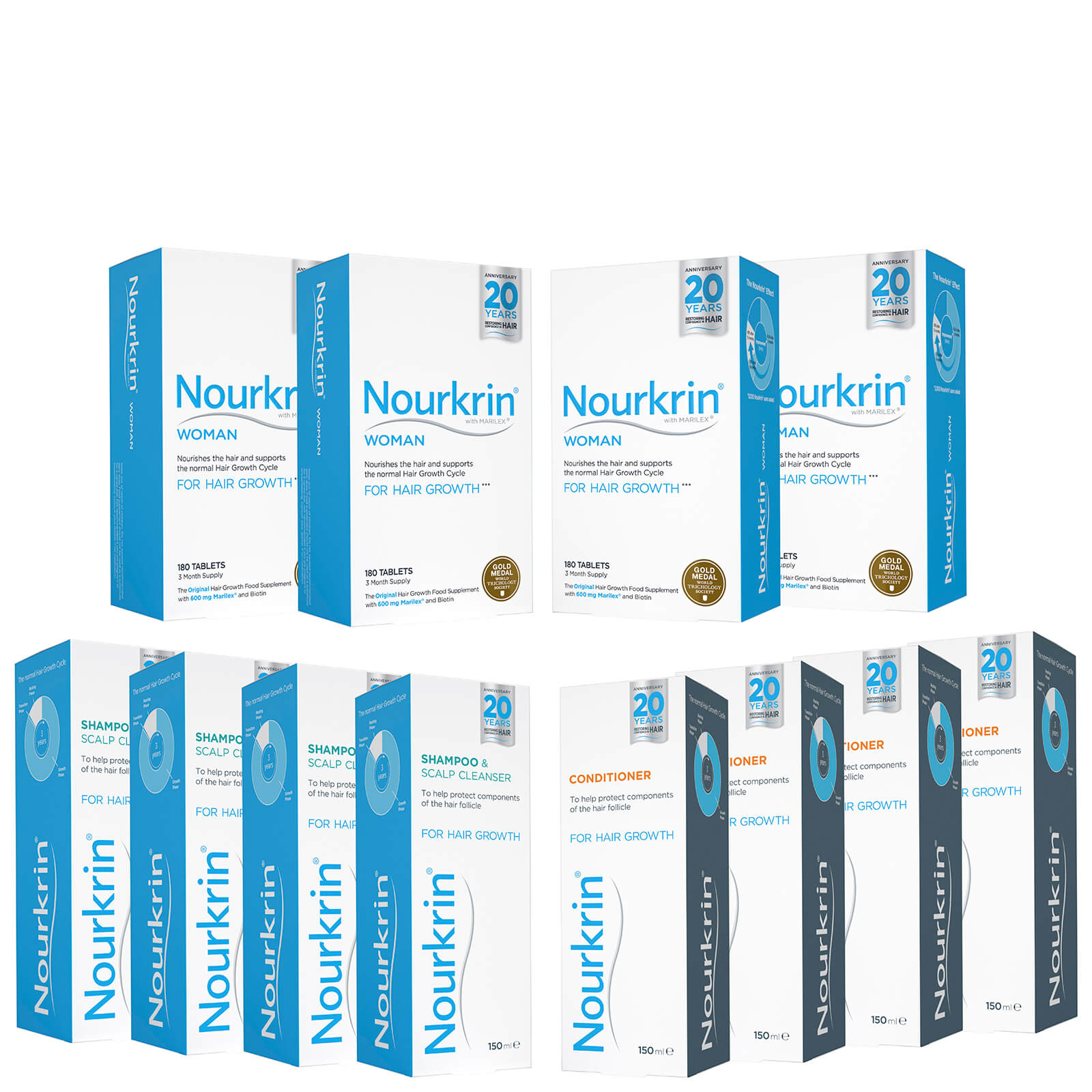Nourkrin Woman Hair Growth Supplements 12 Month Bundle with Shampoo and  Conditioner x4 (Worth £623 56)