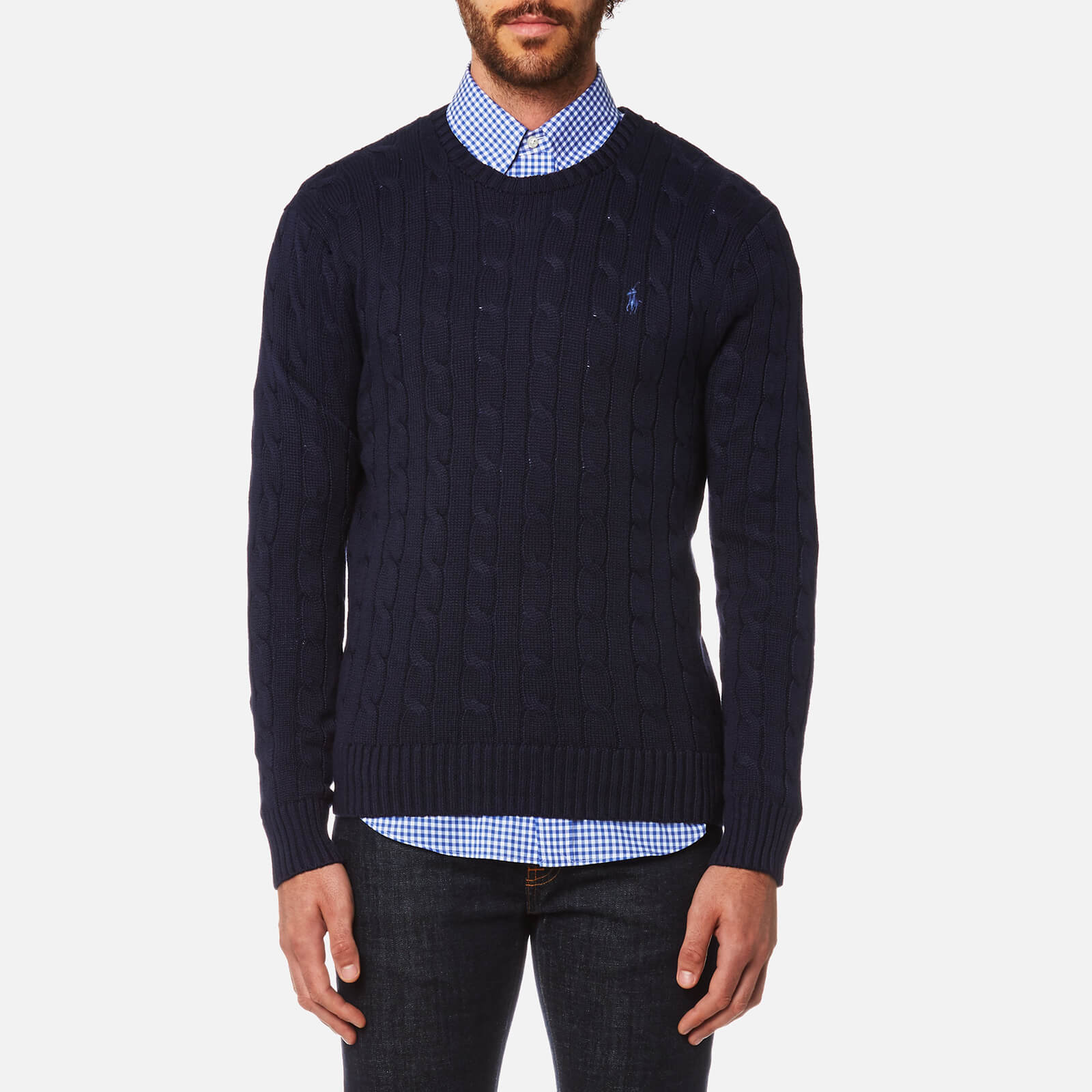 3a9d671464 Polo Ralph Lauren Men s Cotton Cable Knitted Jumper - Hunter Navy - Free UK  Delivery over £50