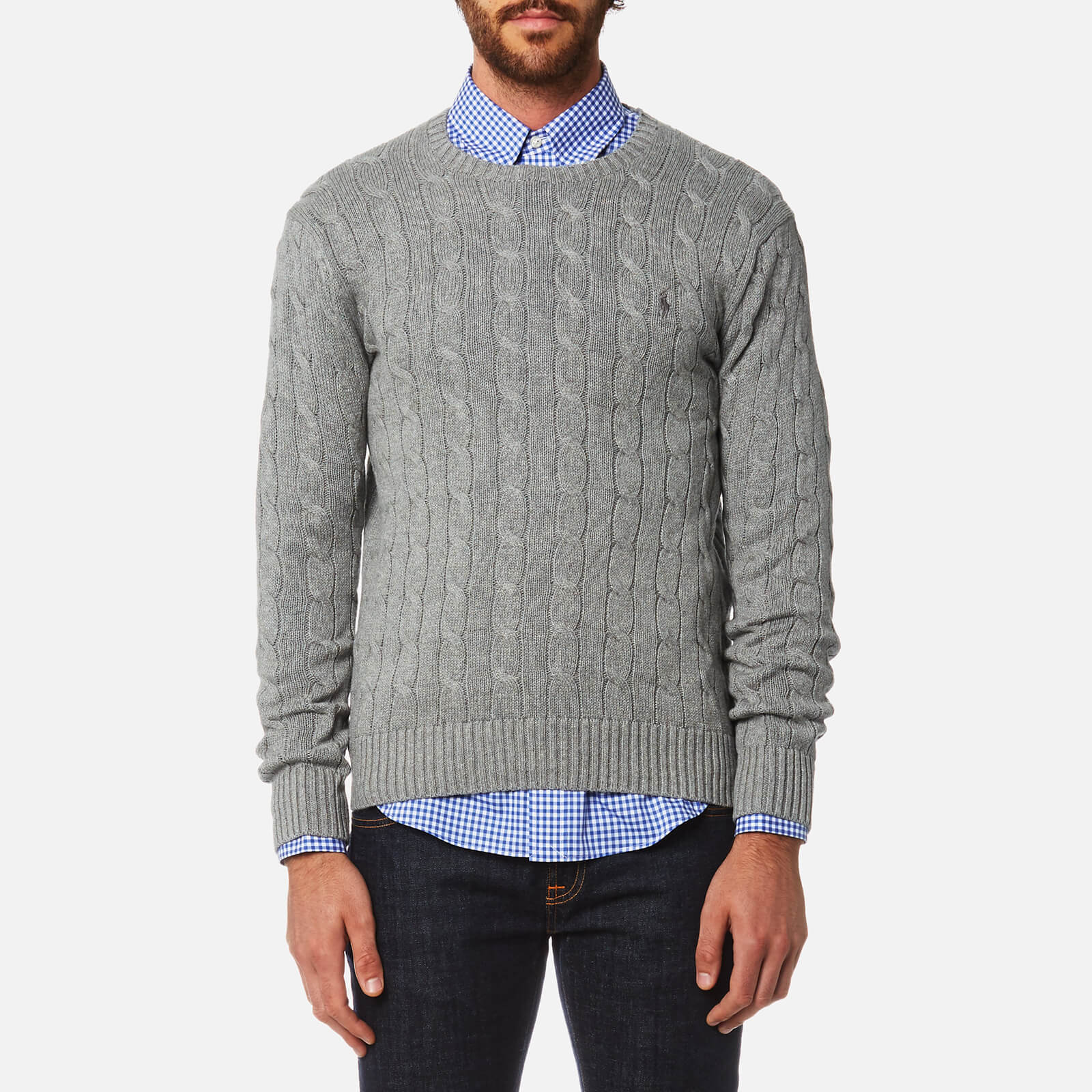 9df126a4252c Polo Ralph Lauren Men s Cotton Cable Knitted Jumper - Fawn Grey Heather -  Free UK Delivery over £50