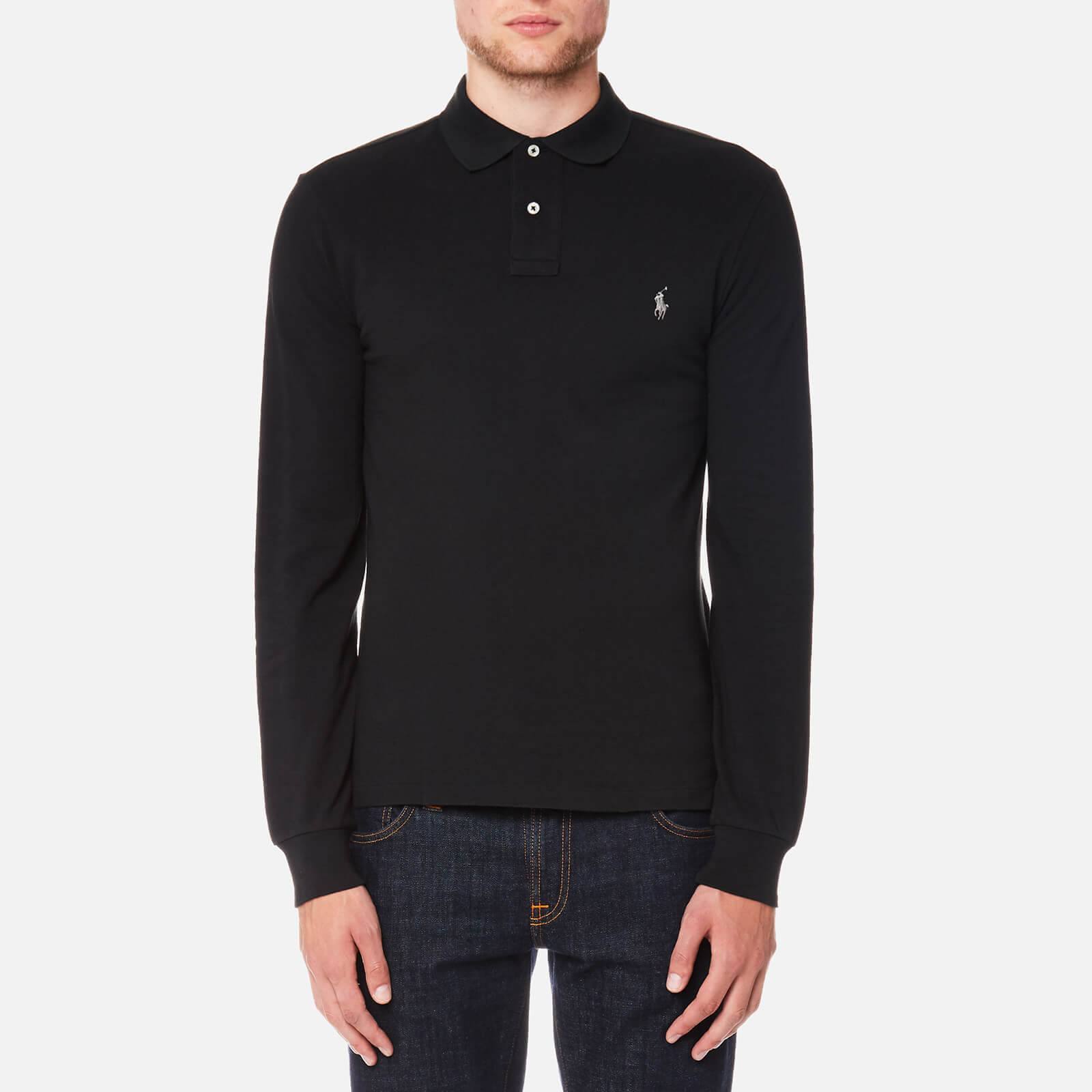 4214dbba03a8 Polo Ralph Lauren Men s Slim Fit Long Sleeve Polo Shirt - Polo Black - Free  UK Delivery over £50