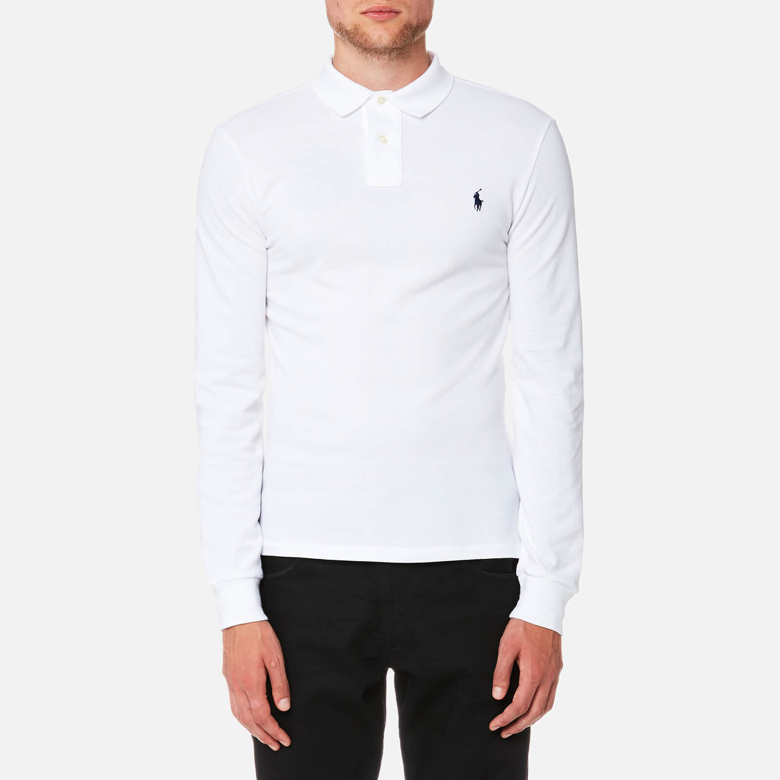 e706212826dc Polo Ralph Lauren Men s Slim Fit Basic Mesh Long Sleeve Polo Shirt - White  - Free UK Delivery over £50