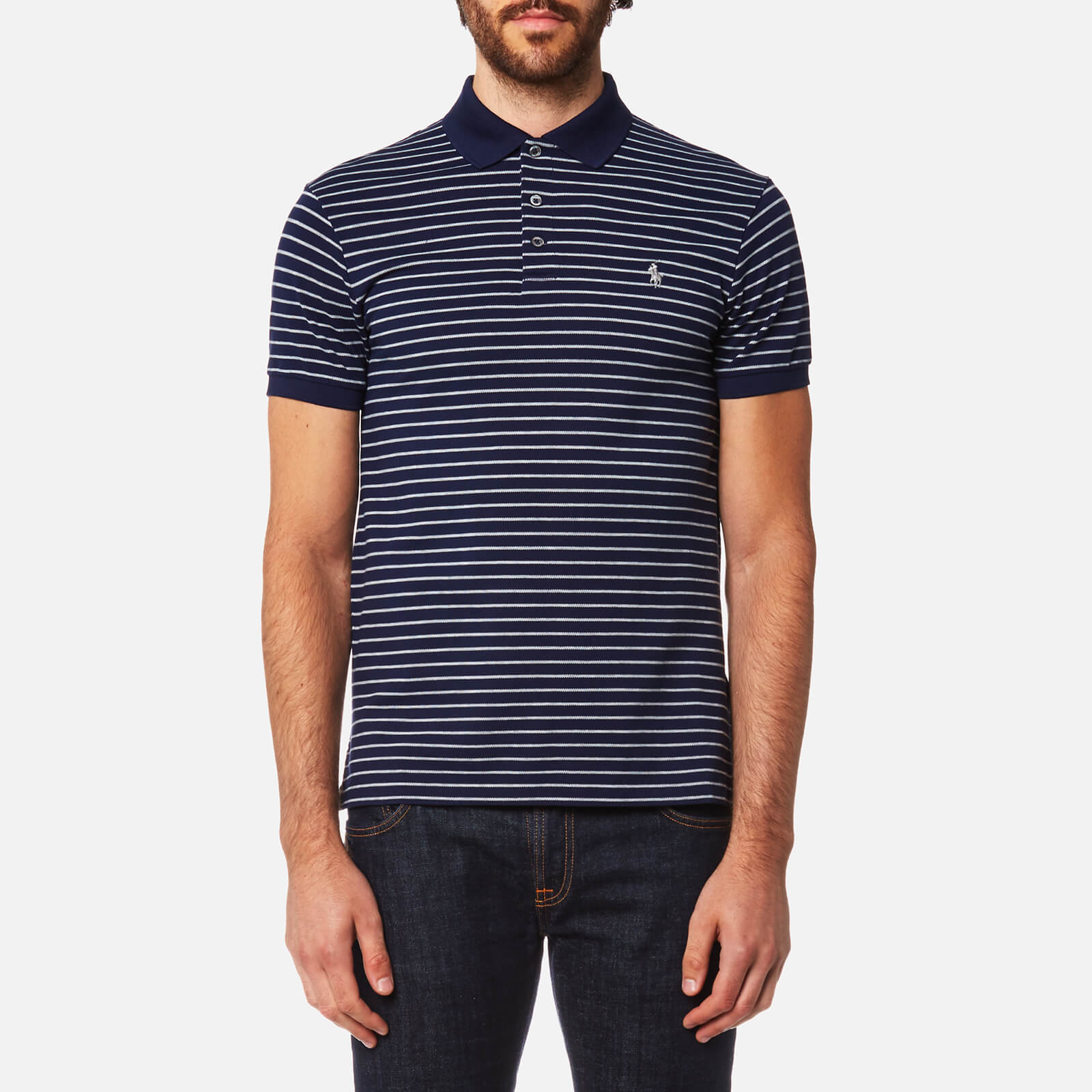 a4aadc95 Polo Ralph Lauren Men's Stretch Mesh Stripe Polo Shirt - French Navy/Andover  - Free UK Delivery over £50