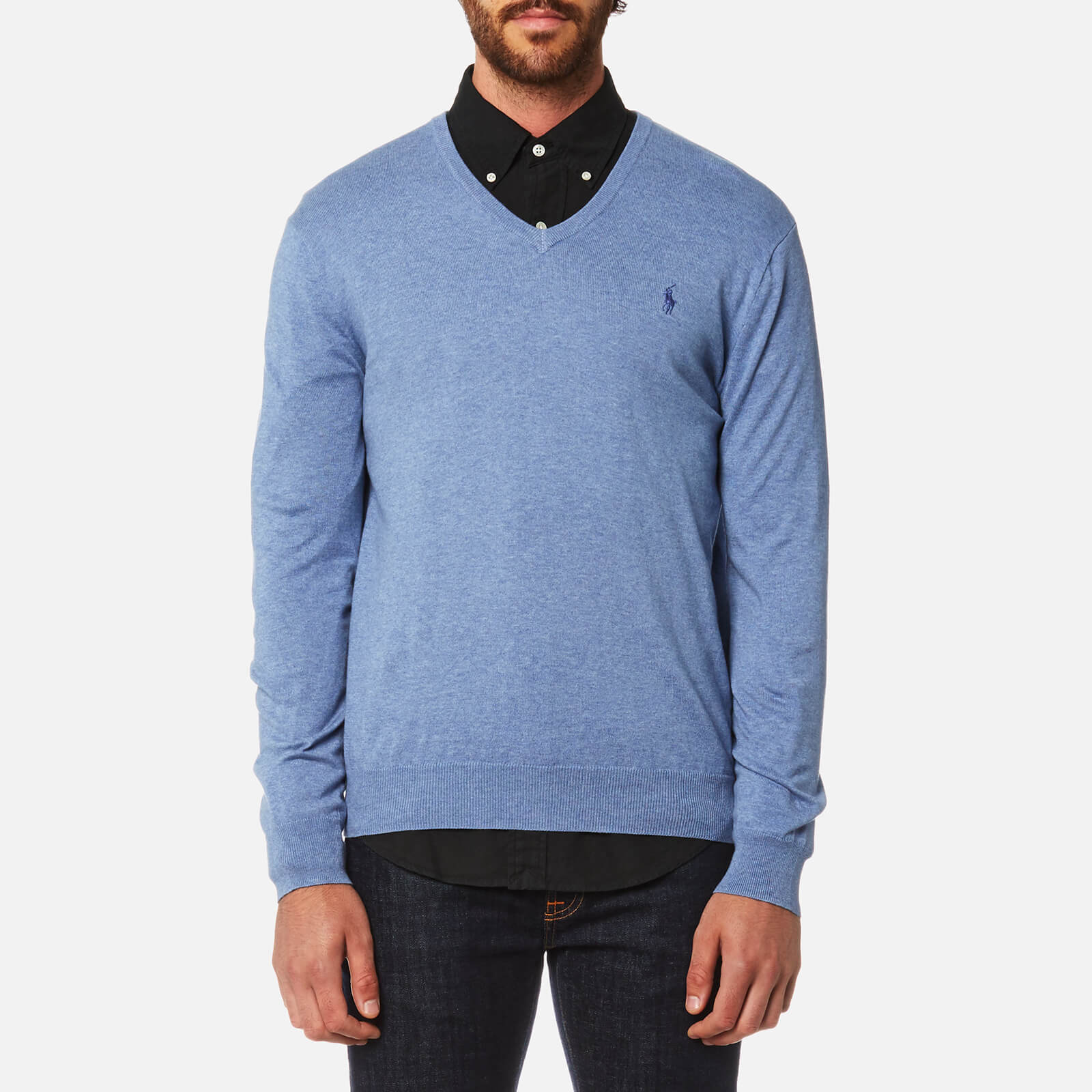 81fe405749c Polo Ralph Lauren Men's Pima Cotton V-Neck Knitted Jumper - Campus Blue  Heather