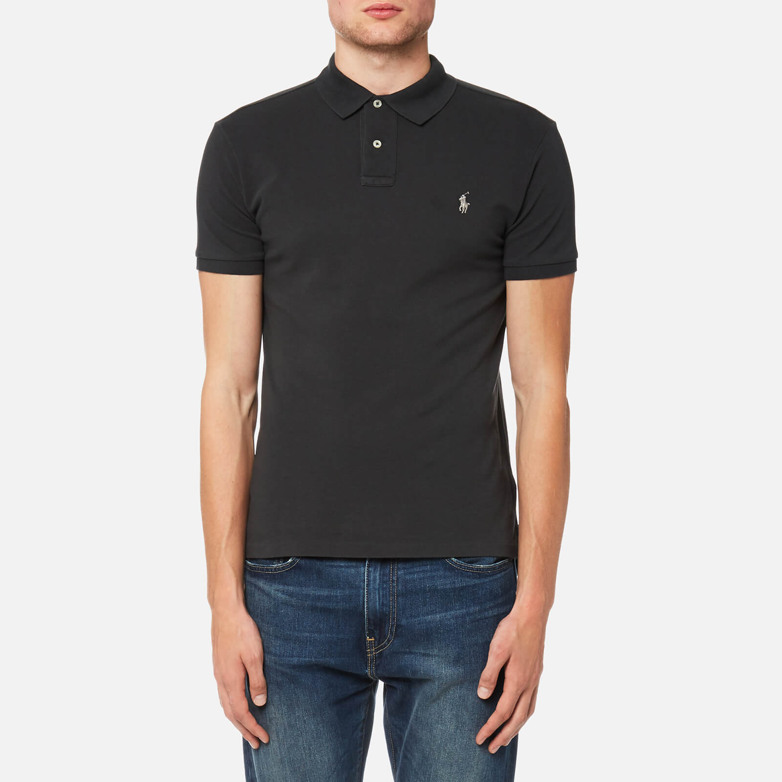 9d821c7f Polo Ralph Lauren Men's Slim Fit Mesh Polo Shirt - Dark Carbon Grey - Free  UK Delivery over £50