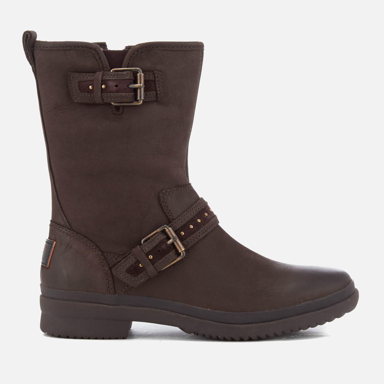 c3c2da3d96e UGG Women's Jenise Waterproof Leather Biker Boots - Stout