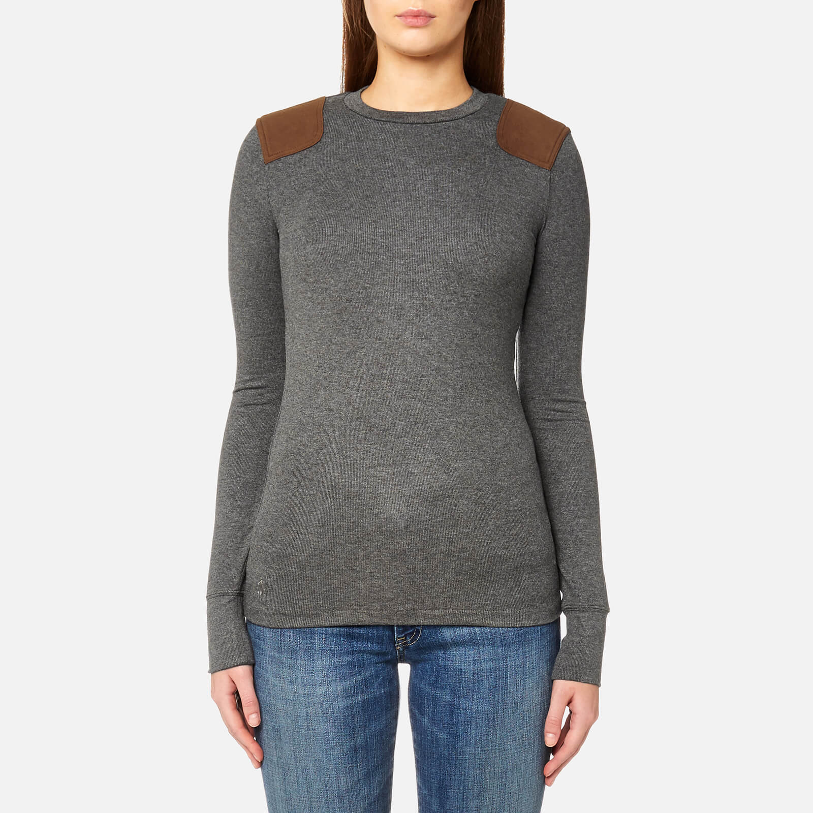 36a35c47e6d18 Polo Ralph Lauren Women s Long Sleeve Crew Neck Top with Suede Trim - Grey  - Free UK Delivery over £50