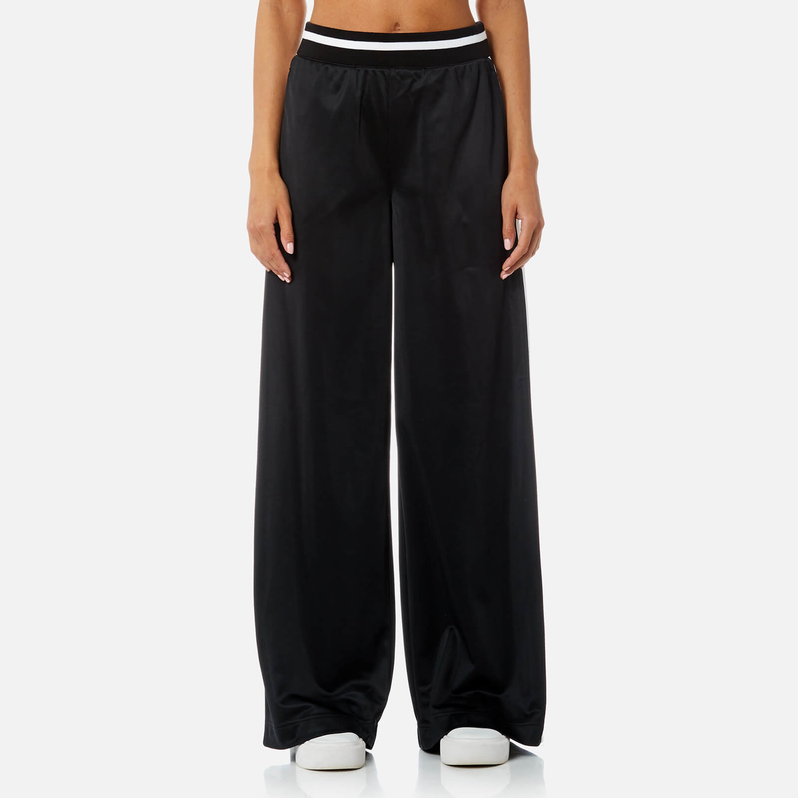 109ed439ecf8a DKNY Sport Women's Track Stripe and Flocked Logo Wide Leg Pants - Black -  Free UK Delivery over £50