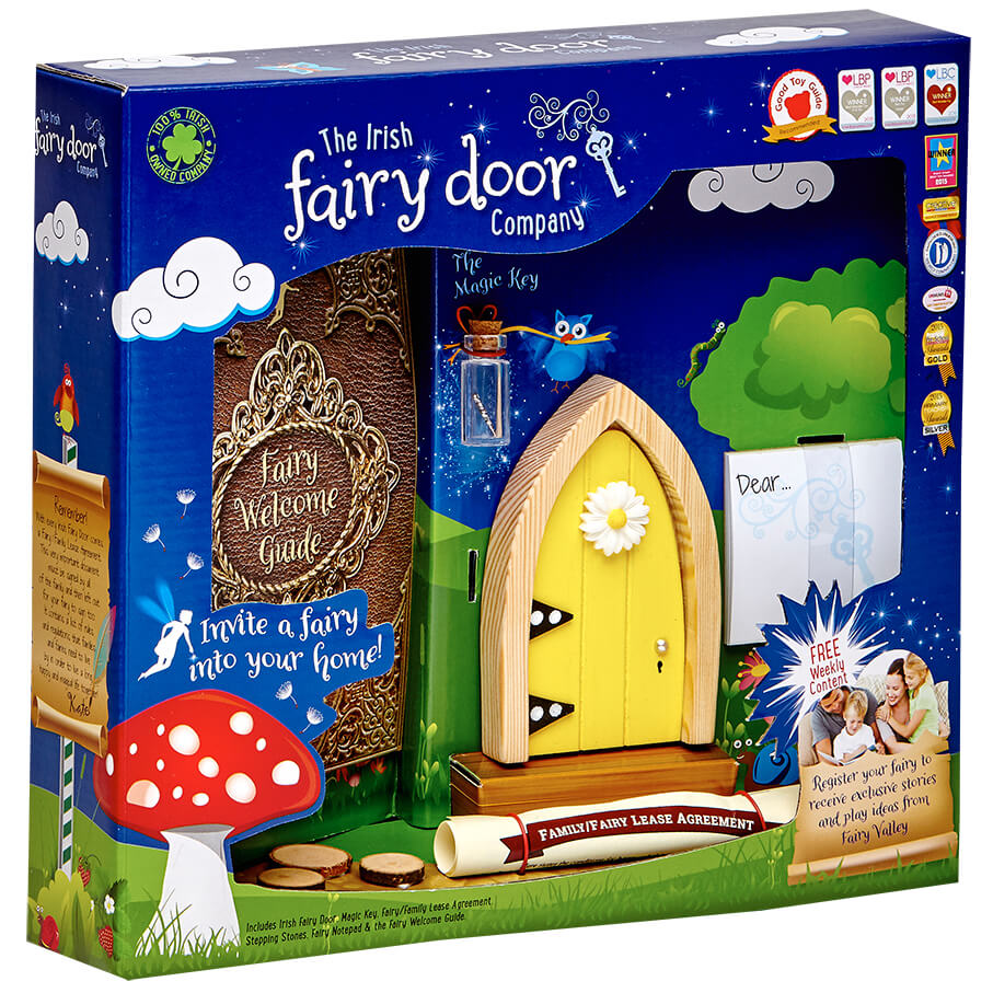 The Irish Fairy Door Company Arched Fairy Door - Yellow (Slim)
