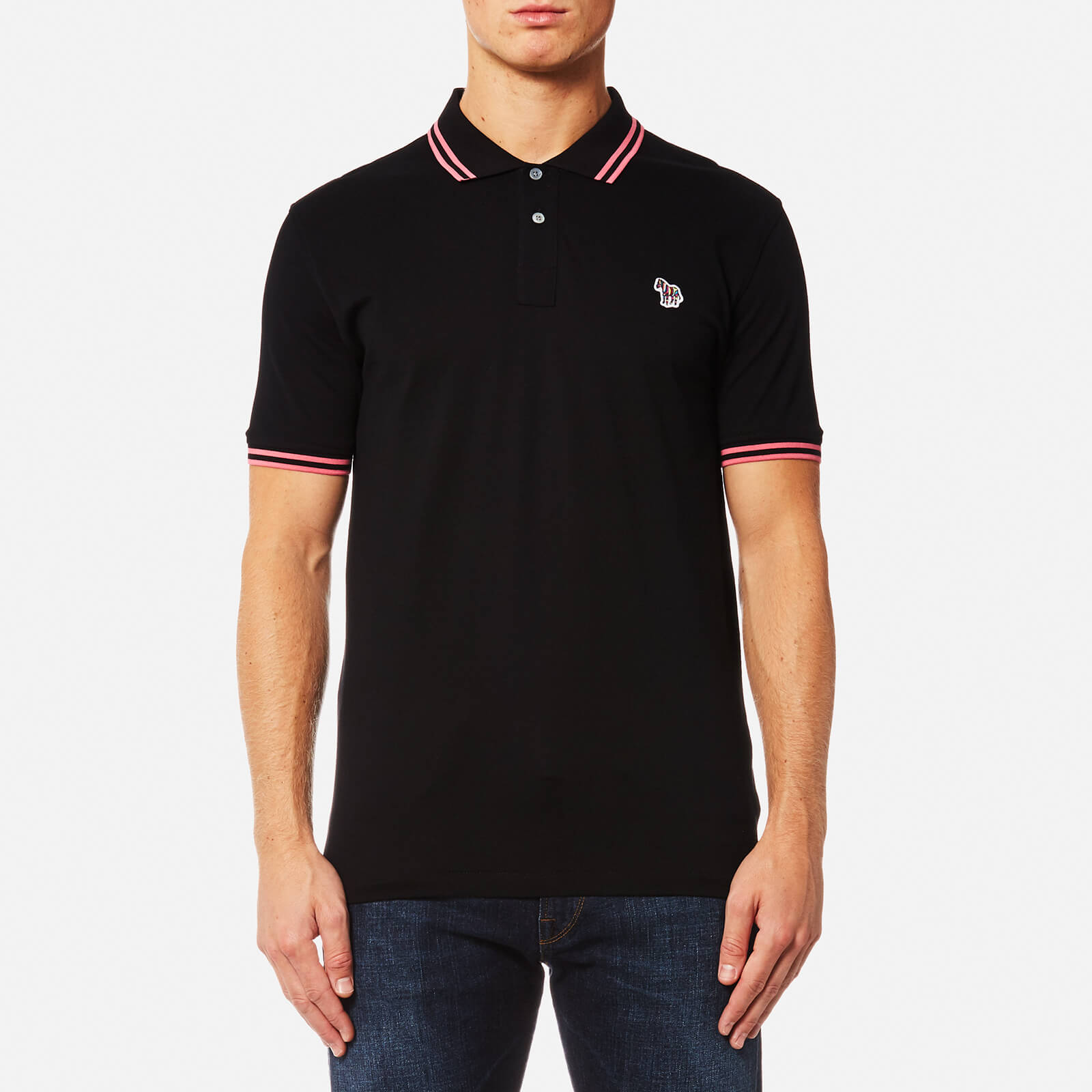 b4b77e8efd PS by Paul Smith Men's Zebra Logo Tipped Polo Shirt - Black - Free UK  Delivery over £50