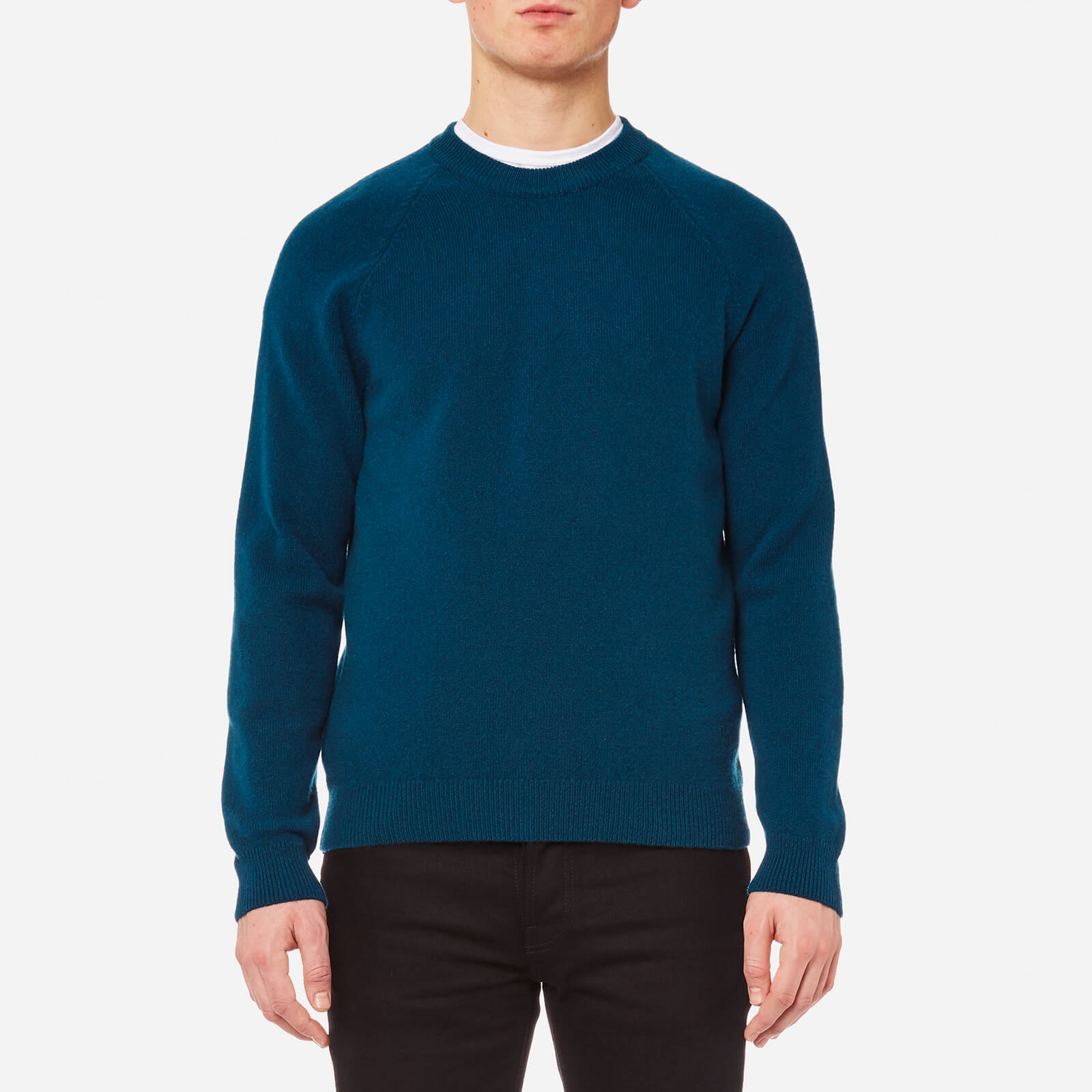 762335a6a78008 PS by Paul Smith Men's Heavy Merino Plain Knitted Jumper - Teal - Free UK  Delivery over £50