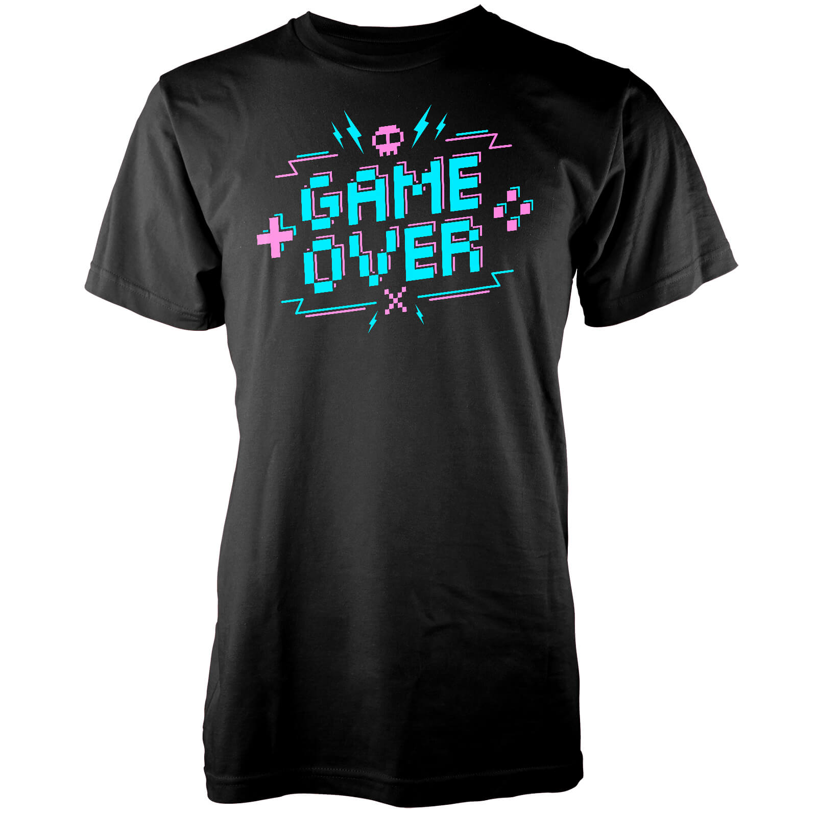 T-Shirt Homme Game Over Pixel Crédits - Noir