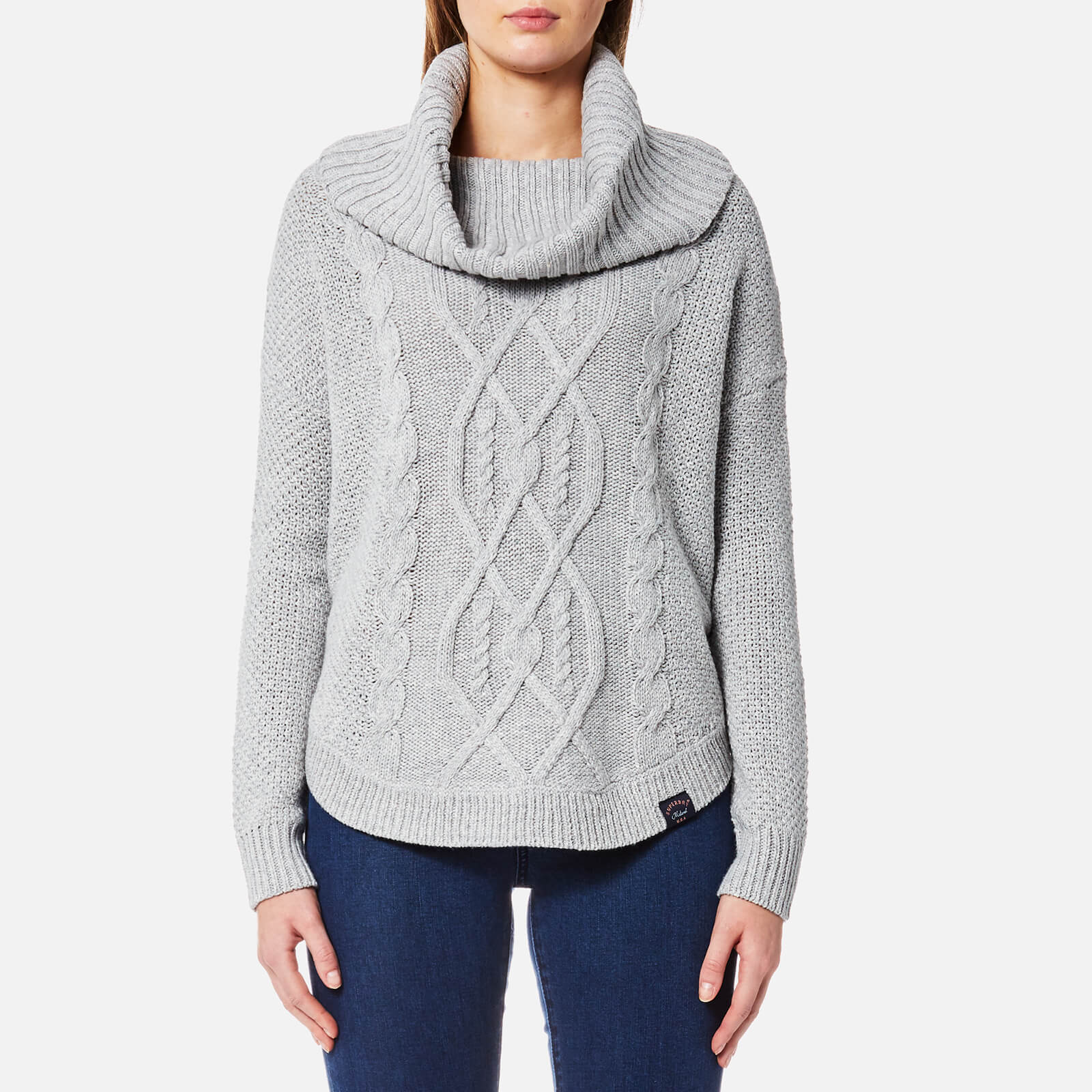 21ec8b65ce9f Superdry Women s Lia Cable Cowl Neck Jumper - Grey Marl Womens Clothing
