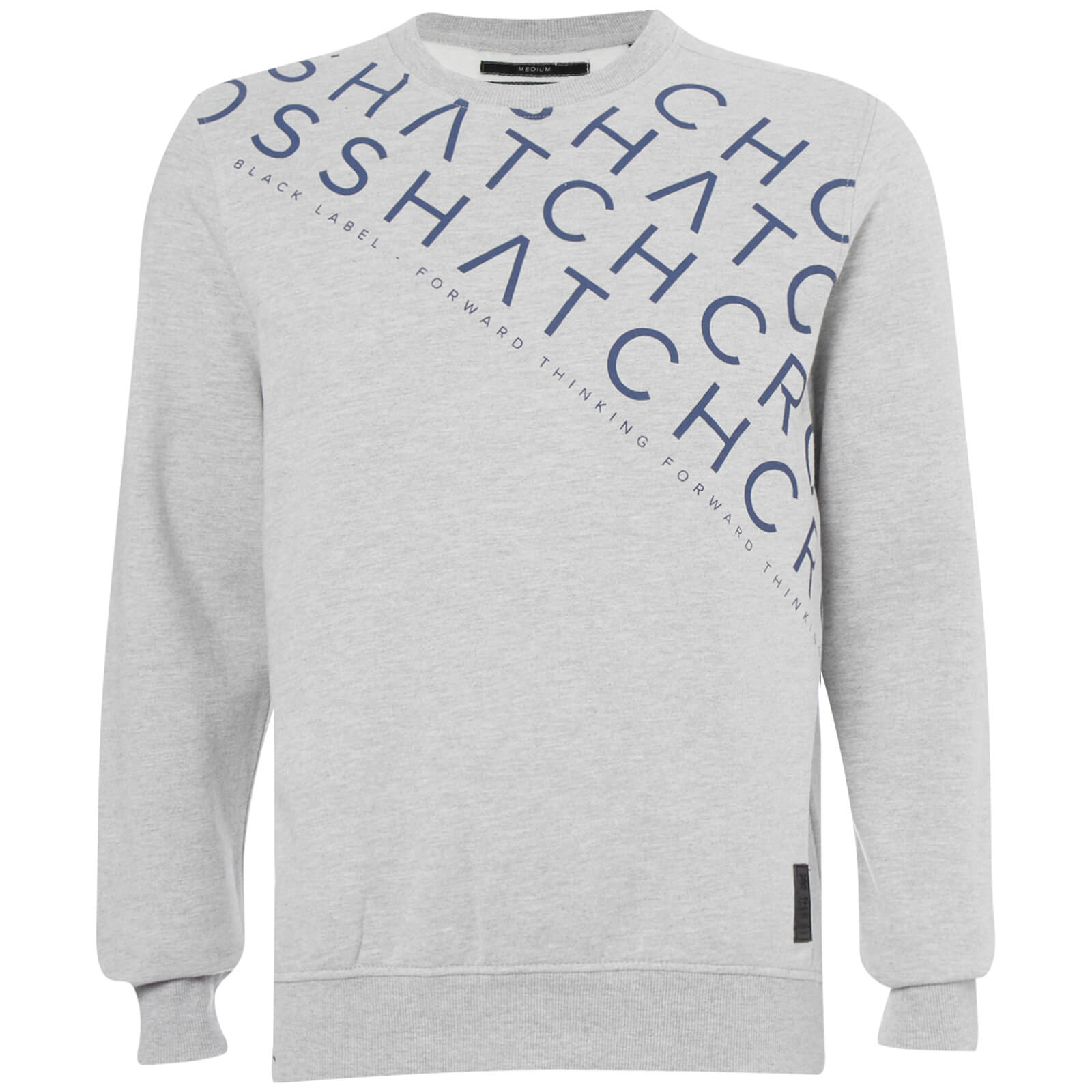 Sweat Homme Leeroy Crew Crosshatch - Gris Clair Chiné