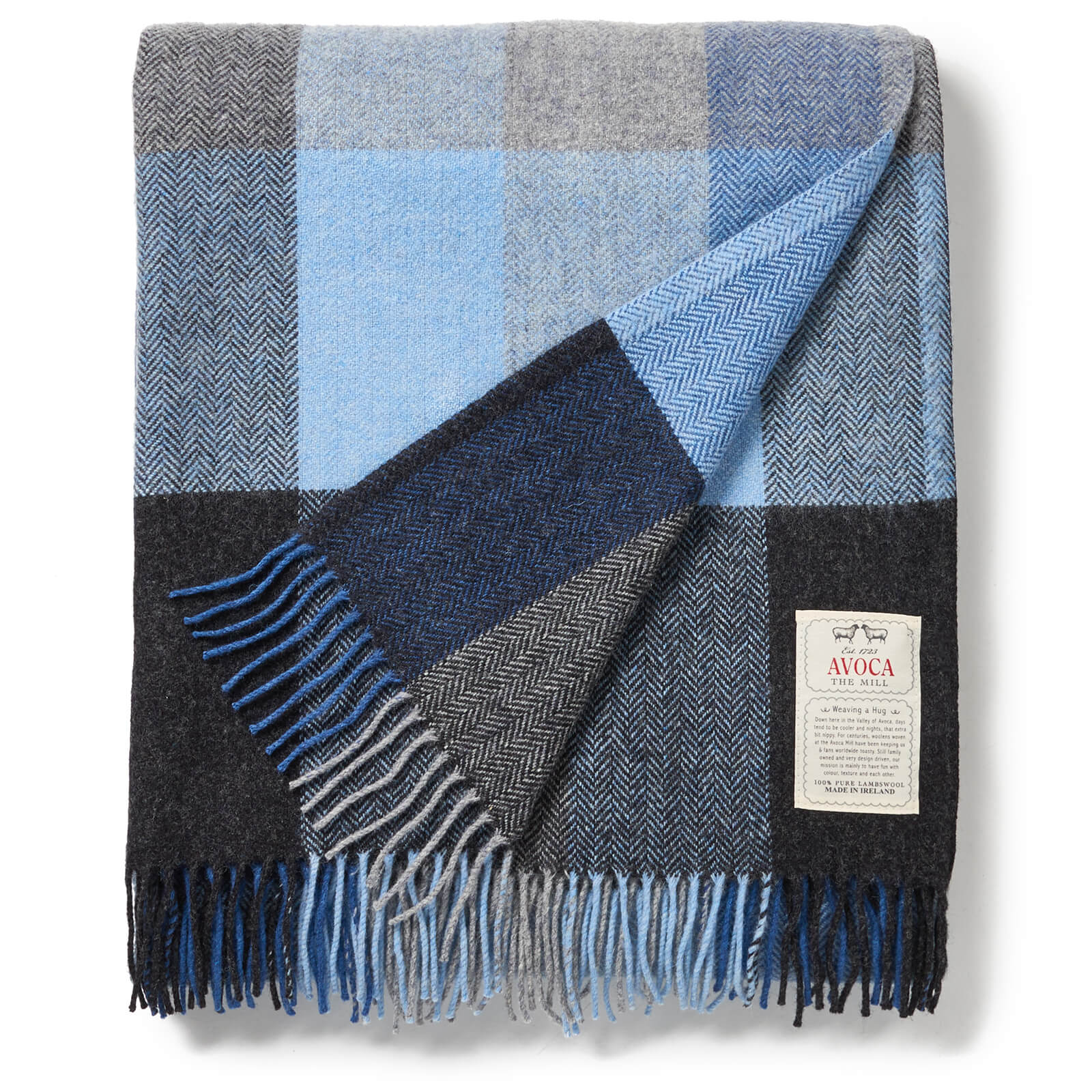 Avoca Lambswool Throw - Denim - 142 x 183cm