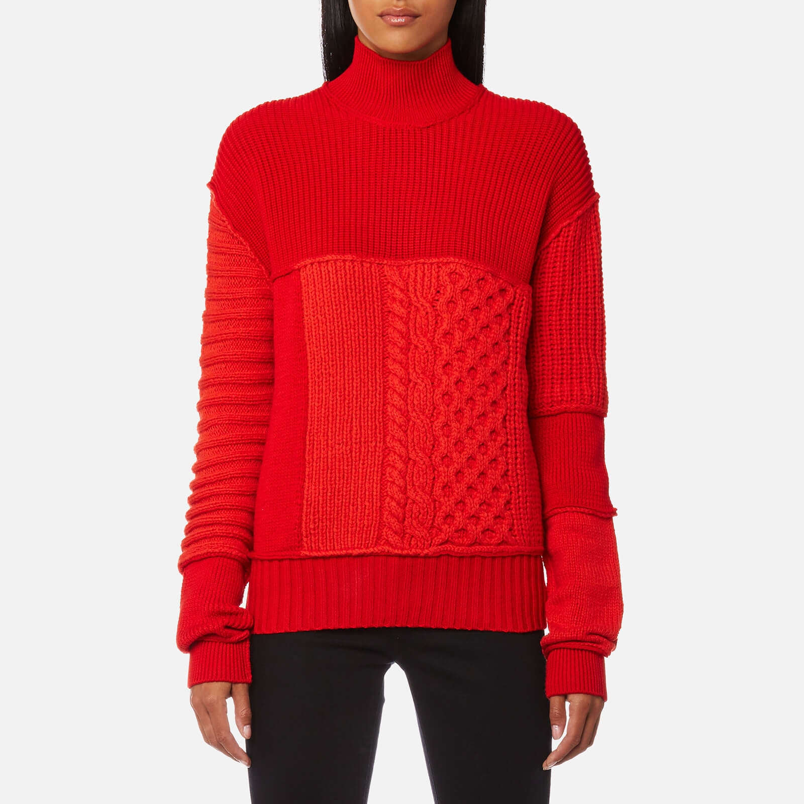 d0c984798734 McQ Alexander McQueen Women s Cable Mix Crop Jumper - Electric Red ...