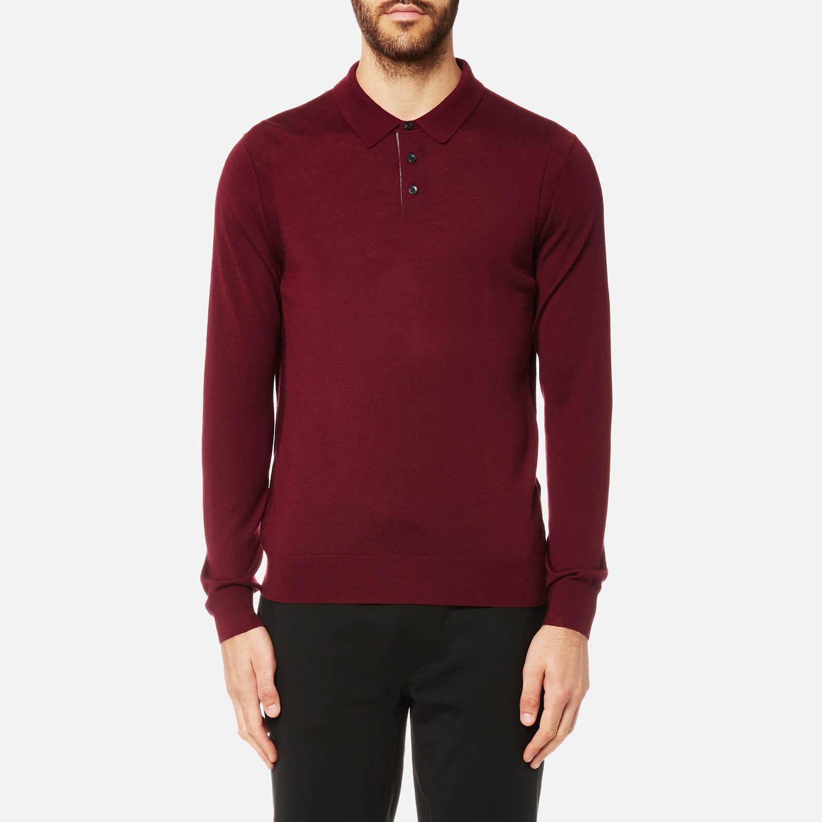 63adc854c Michael Kors Men's Merino Long Sleeve Polo Shirt - Chianti - Free UK  Delivery over £50