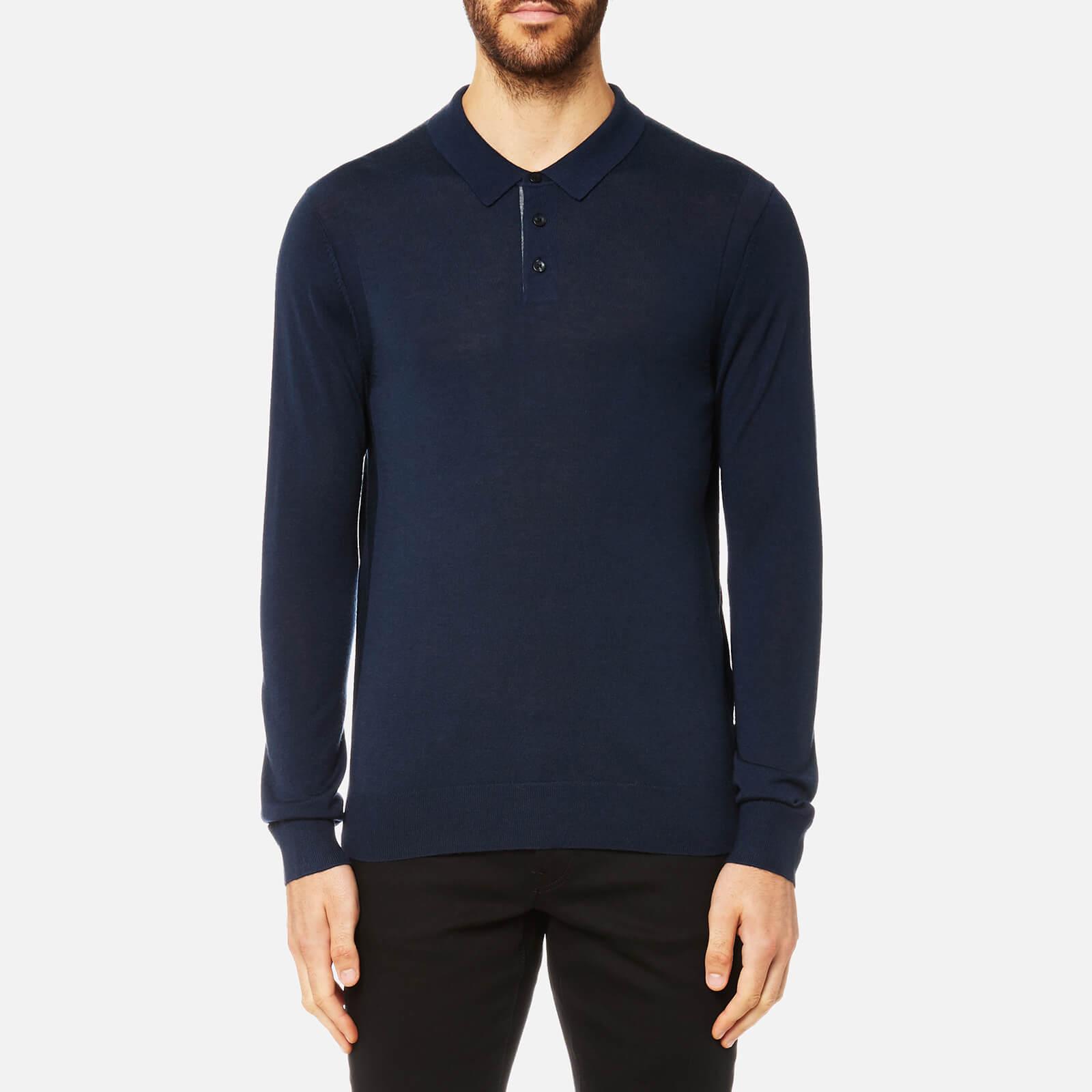 55f664e9 Michael Kors Men's Merino Long Sleeve Polo Shirt - Midnight - Free UK  Delivery over £50
