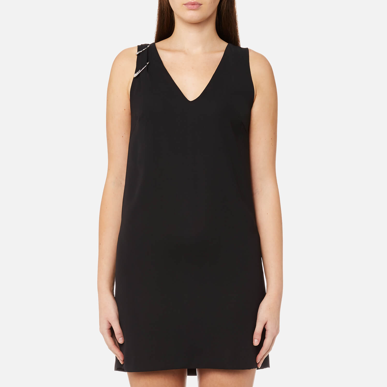 a6d76c1d80f Versus Versace Women s V Neck Shift Dress with Safty Pin Detail - Black -  Free UK Delivery over £50