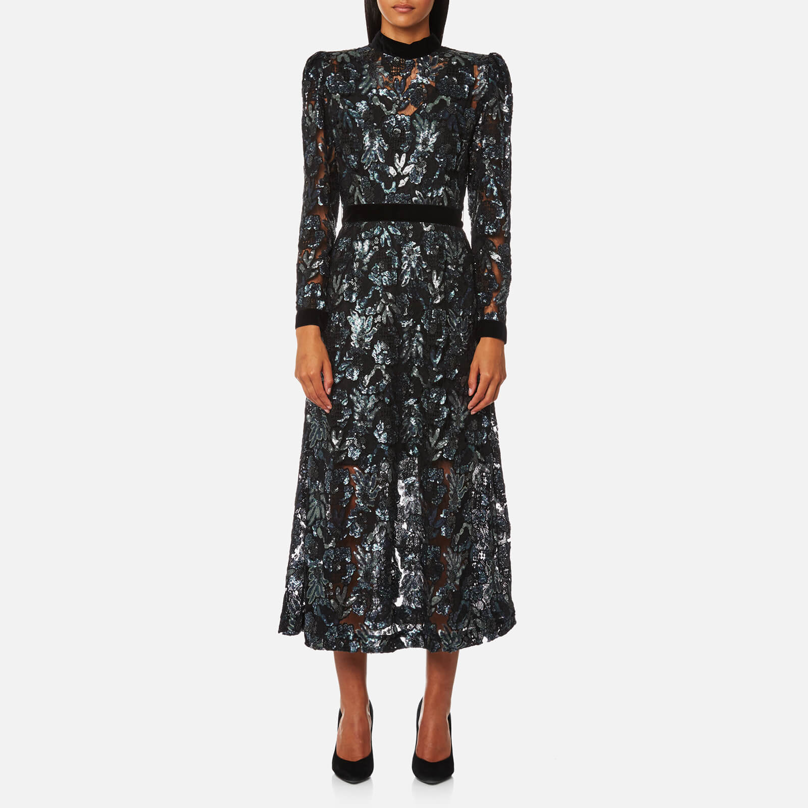 37eb1a7d Perseverance London Women's Floral Multi Sequin Midi Dress - Silver - Free  UK Delivery over £50
