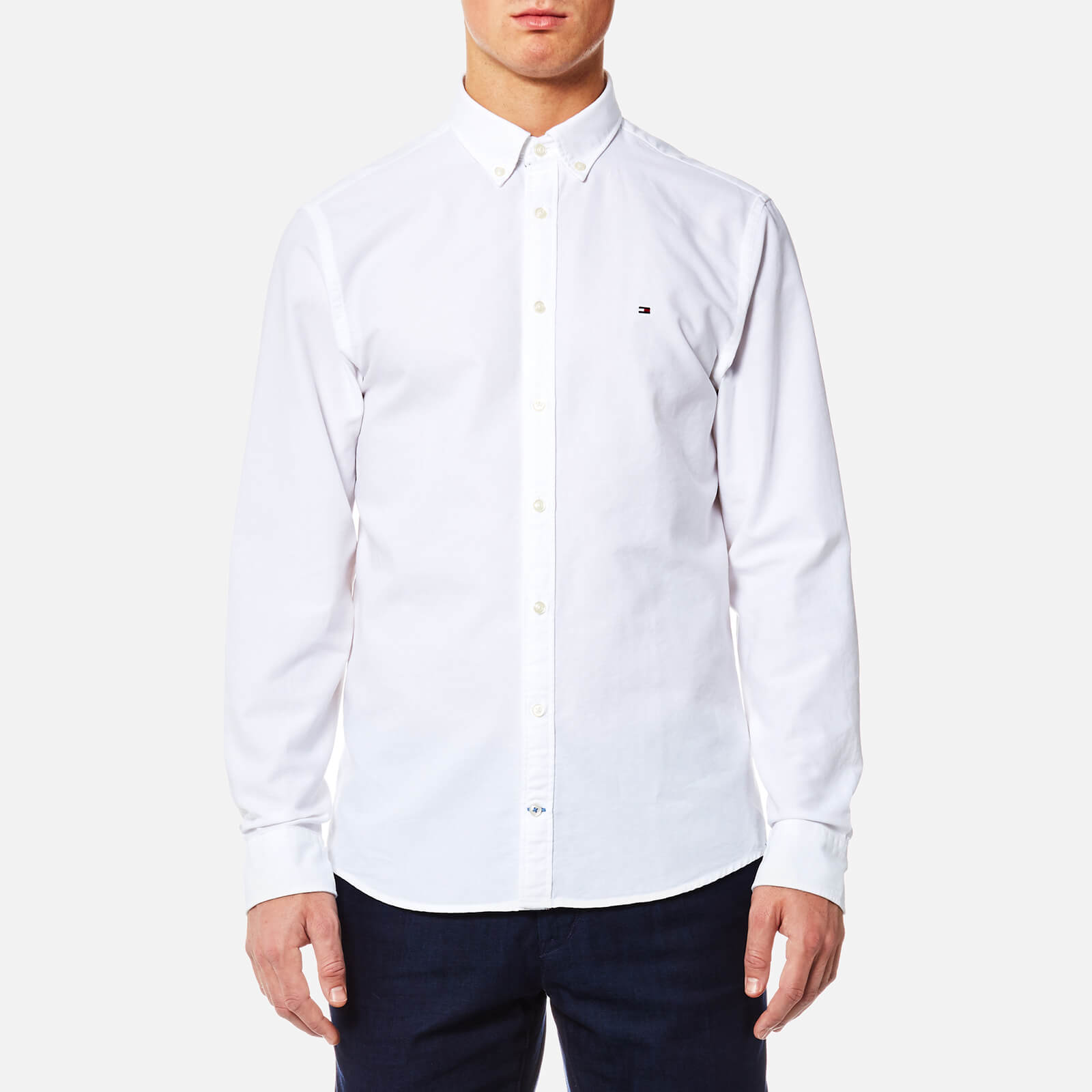 2e2c529c01bd Tommy Hilfiger Men s Engineered Oxford Long Sleeve Shirt - Bright White Mens  Clothing
