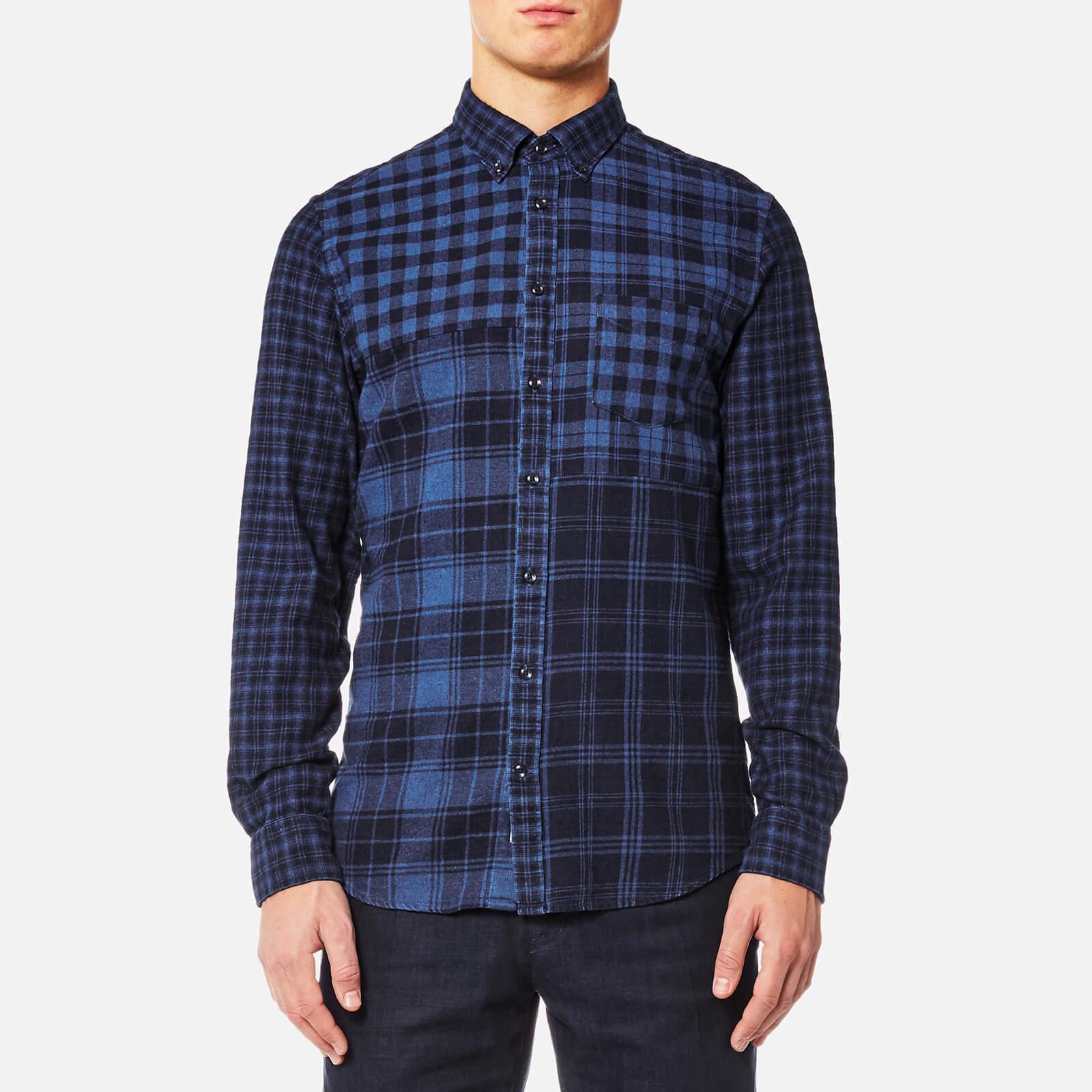1e01bd41 Tommy Hilfiger Men's Checked Patchwork Long Sleeve Shirt - Indigo Mens  Clothing | TheHut.com