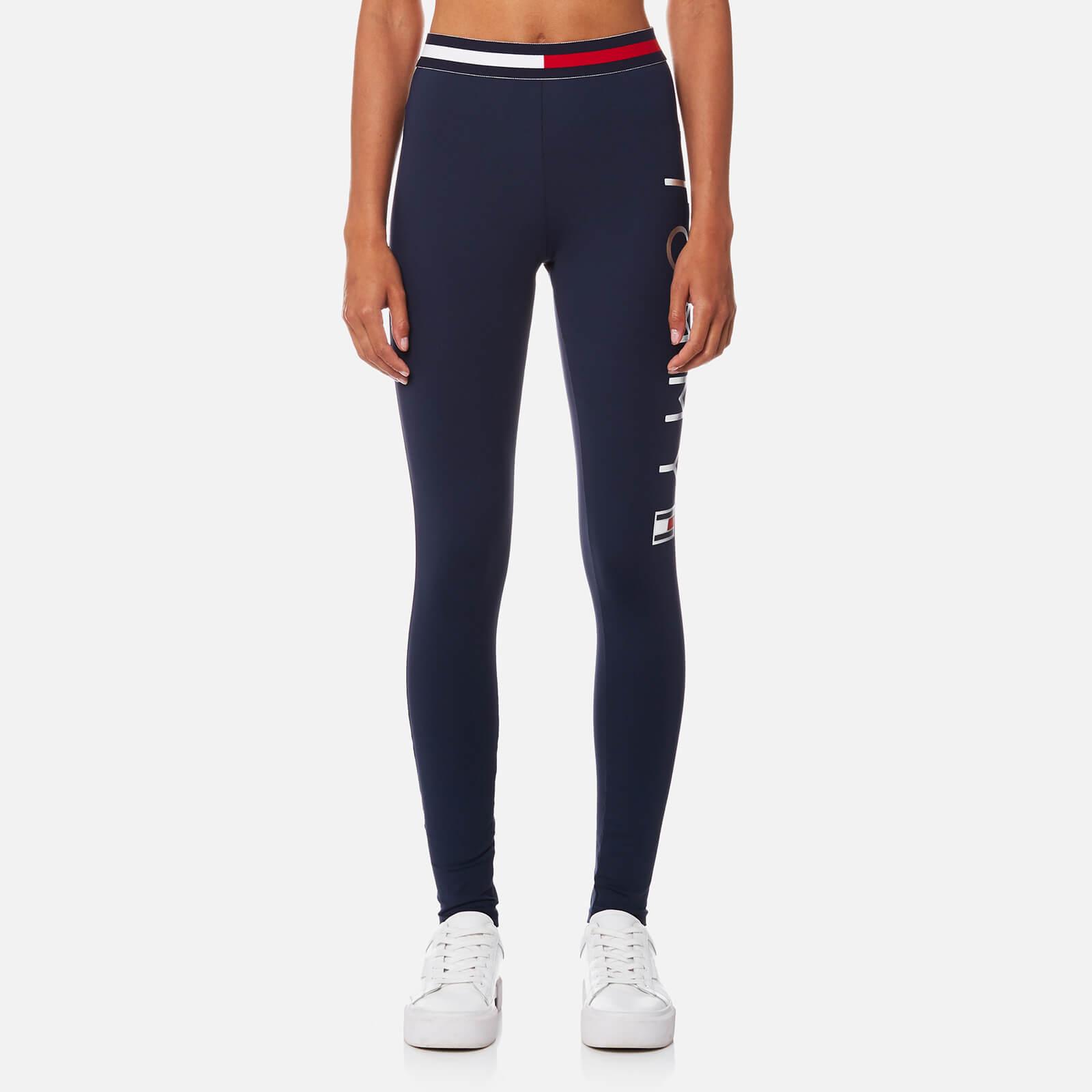 c8e2d5258 Tommy Hilfiger Women s Active Wear Tiffany Logo Leggings - Peacoat Womens  Clothing