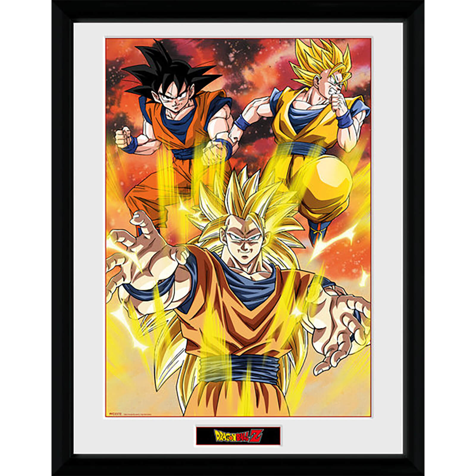 Dragon Ball Z 3 Gokus - 16 x 12 Inches Framed Photograph