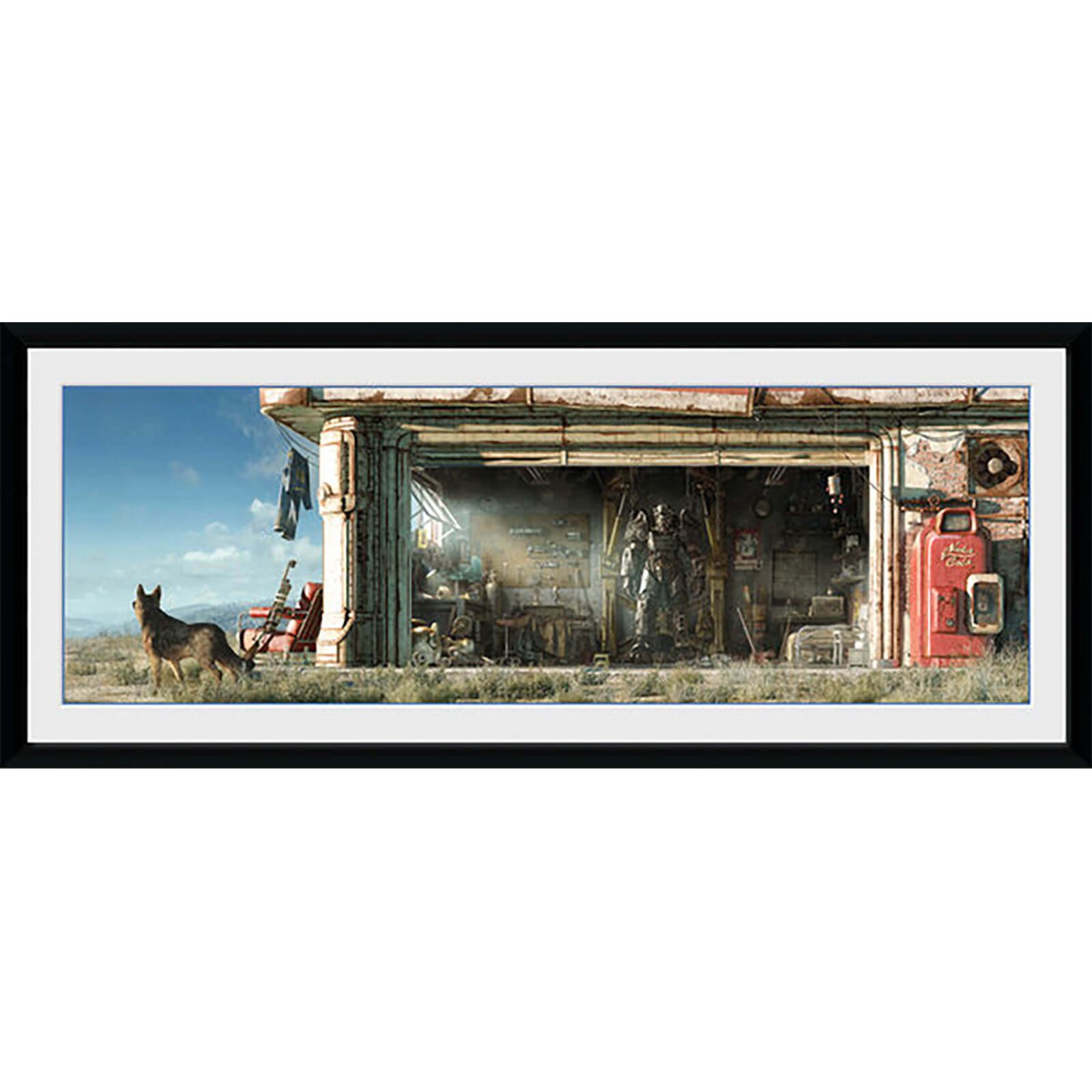 Fallout Garage - 30 x 12 Inches Framed Photograph
