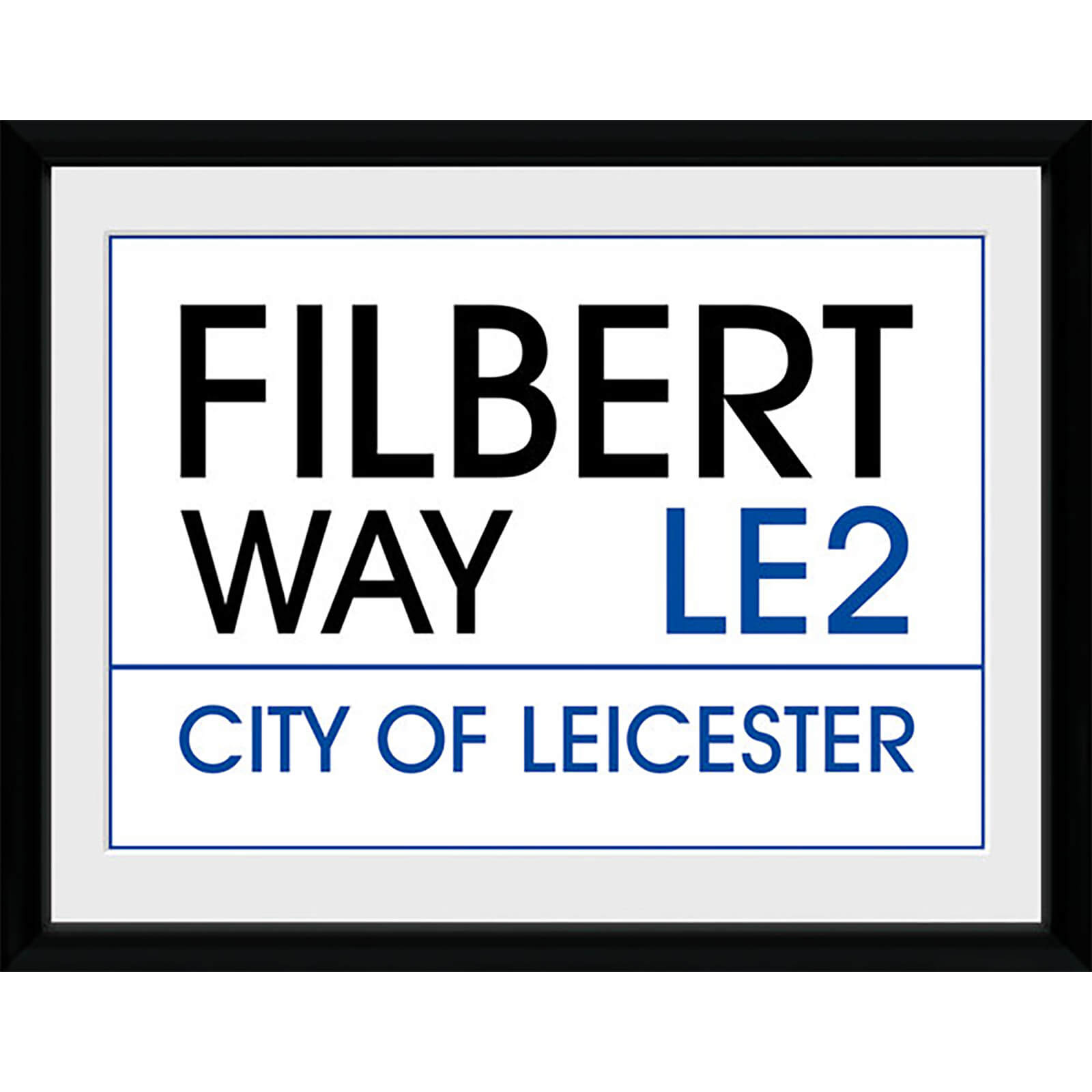 Leicester Street Sign - 16 x 12 Inches Framed Photograph