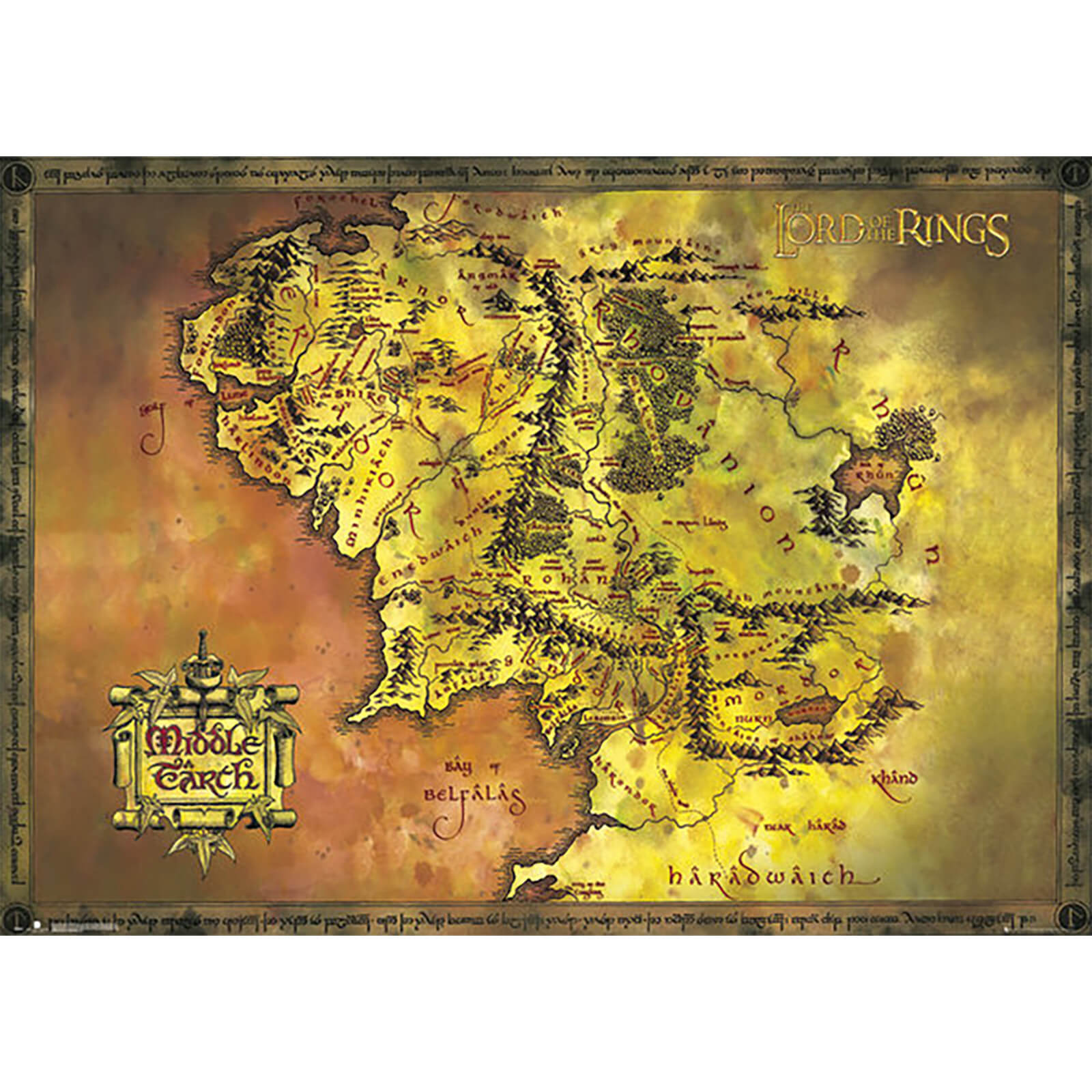 Lord of the Rings Classic Map - 100 x 140cm Giant Poster