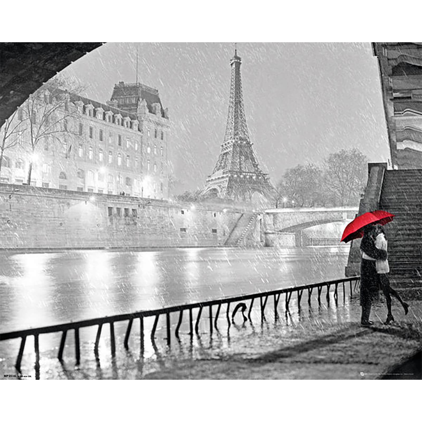 Paris Eiffel Tower Kiss - 40 x 50cm Mini Poster