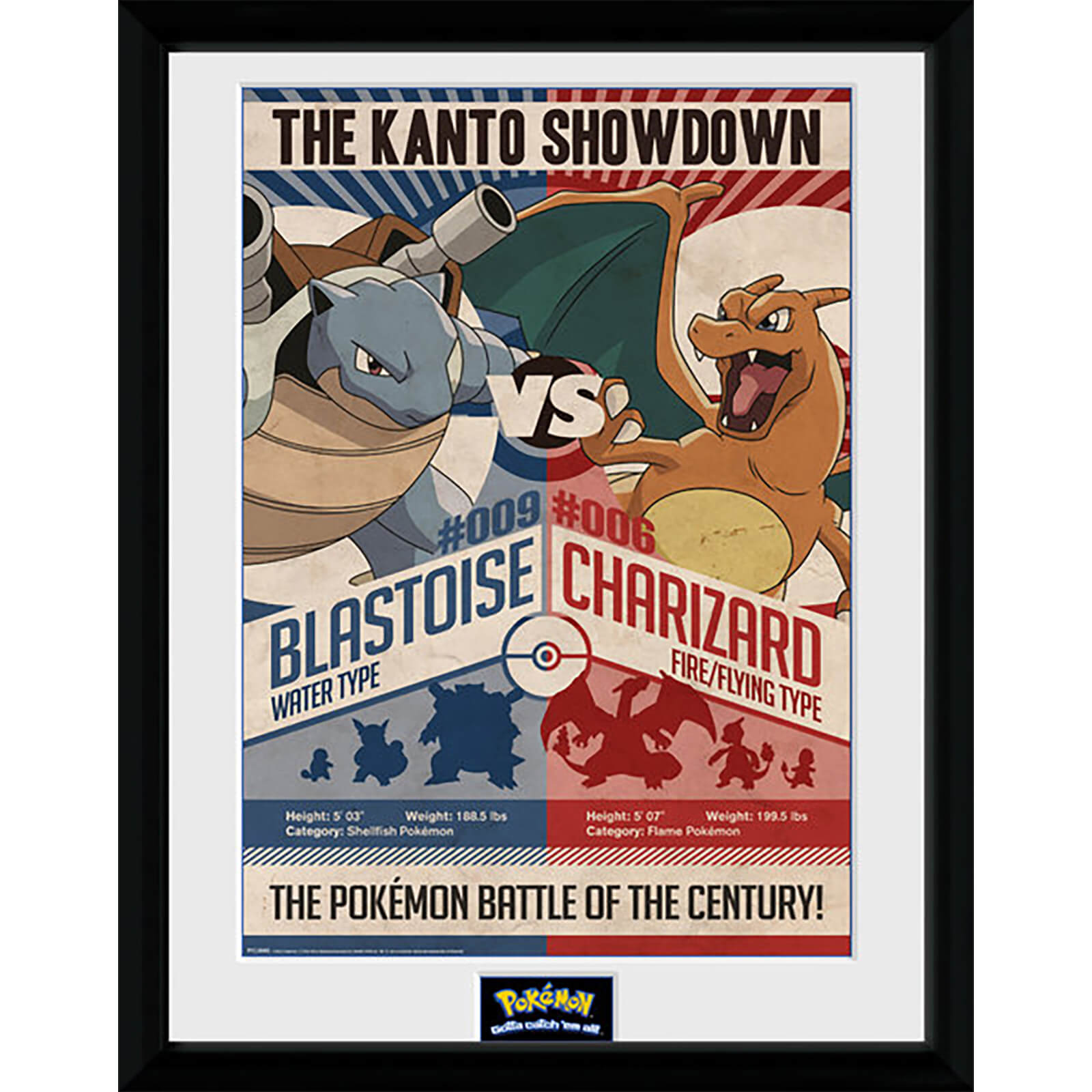 Pokémon Red V Blue - 16 x 12 Inches Framed Photograph
