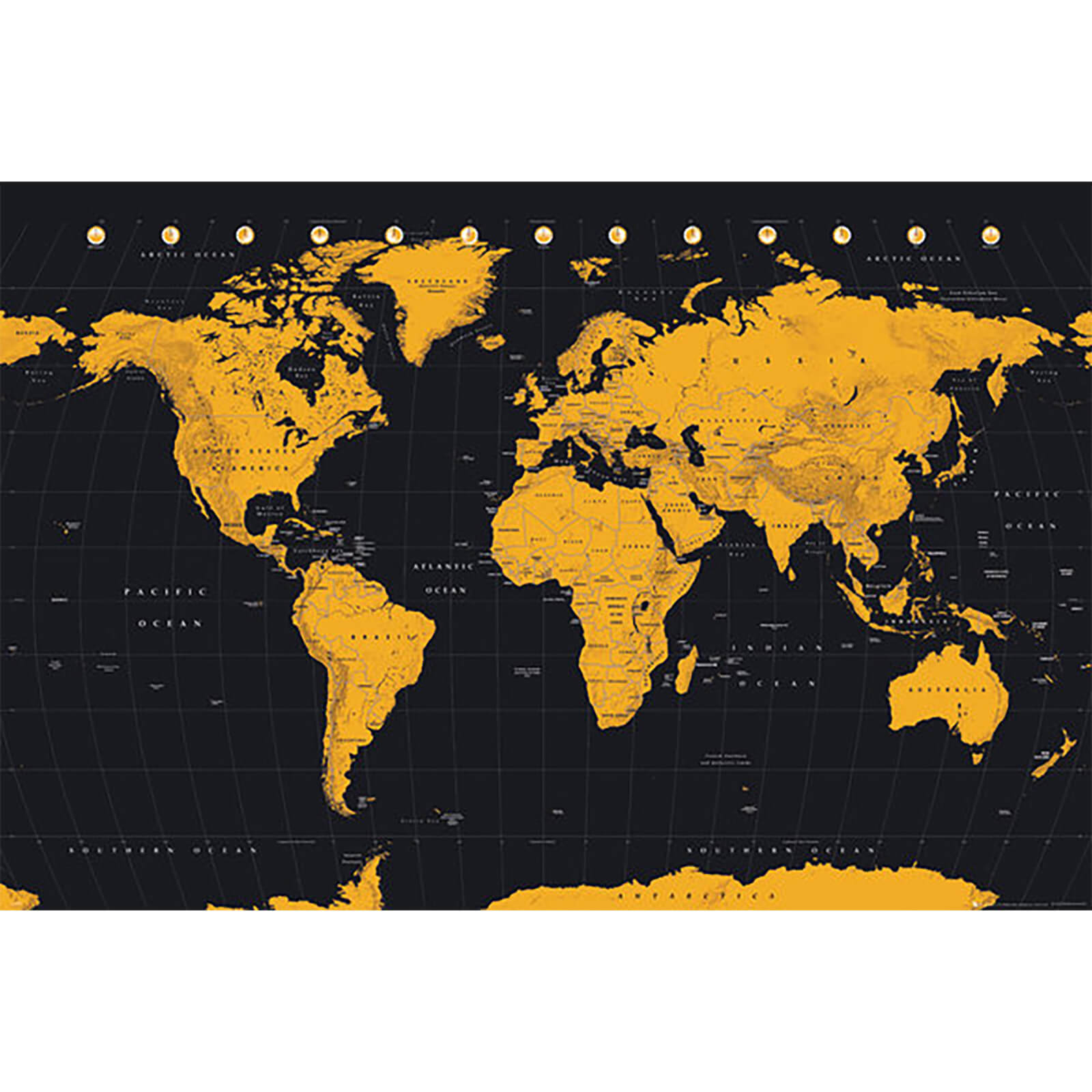 World Map Gold World Map - 61 x 91.5cm Maxi Poster