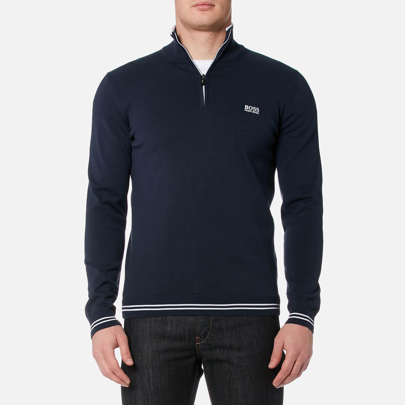 592e53b0f98 BOSS Green Men's Zime Quarter Zip Knitted Jumper - Navy