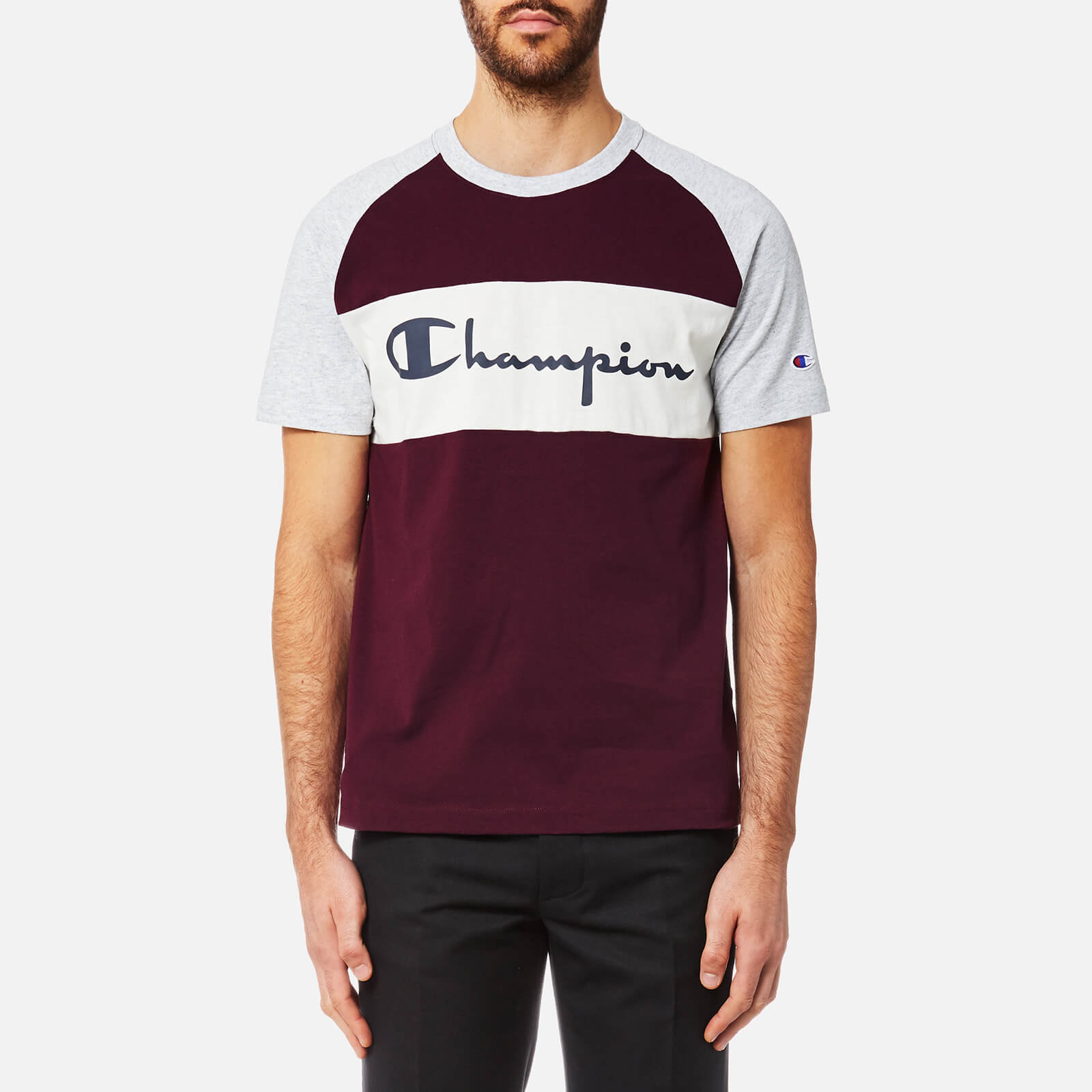d7b7611a Champion Men's Colour Block T-Shirt - Burgundy/Grey Marl - Free UK Delivery  over £50
