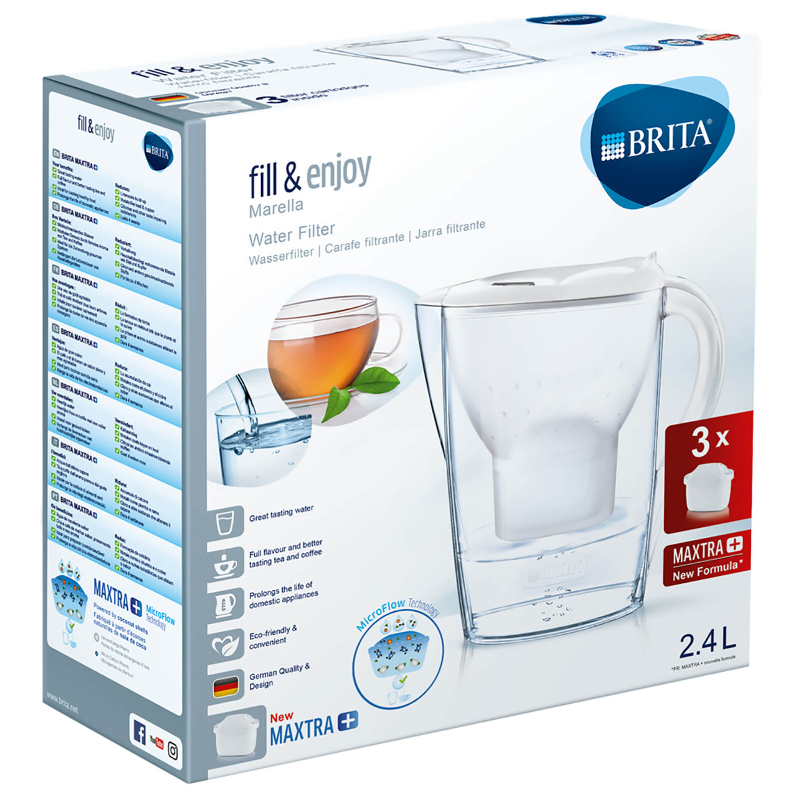 BRITA Maxtra+ Marella Cool Water Filter Jug Starter Pack with 3 Cartridges - White