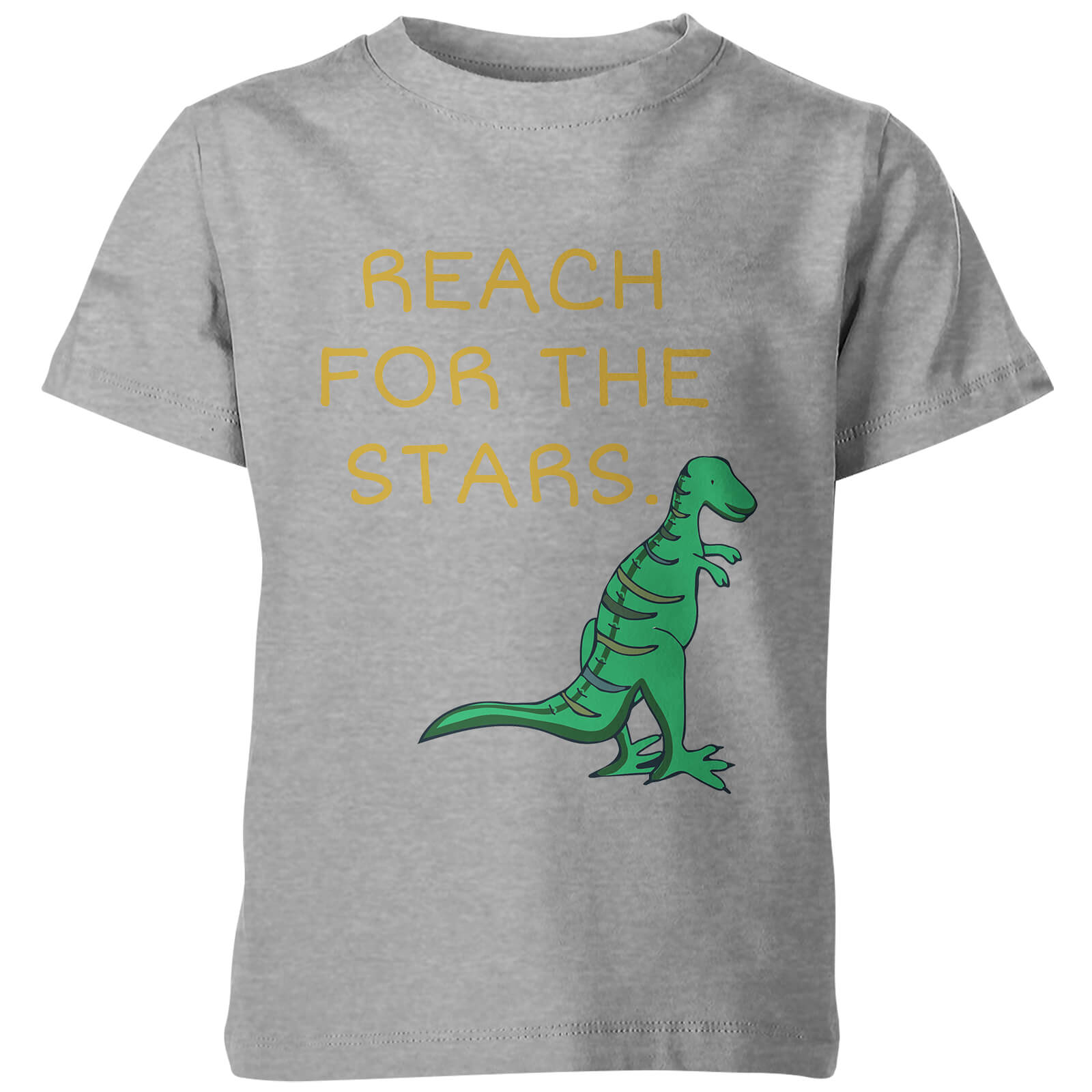 My Little Rascal Kids Dinosaur Reach for the Stars Grey T-Shirt